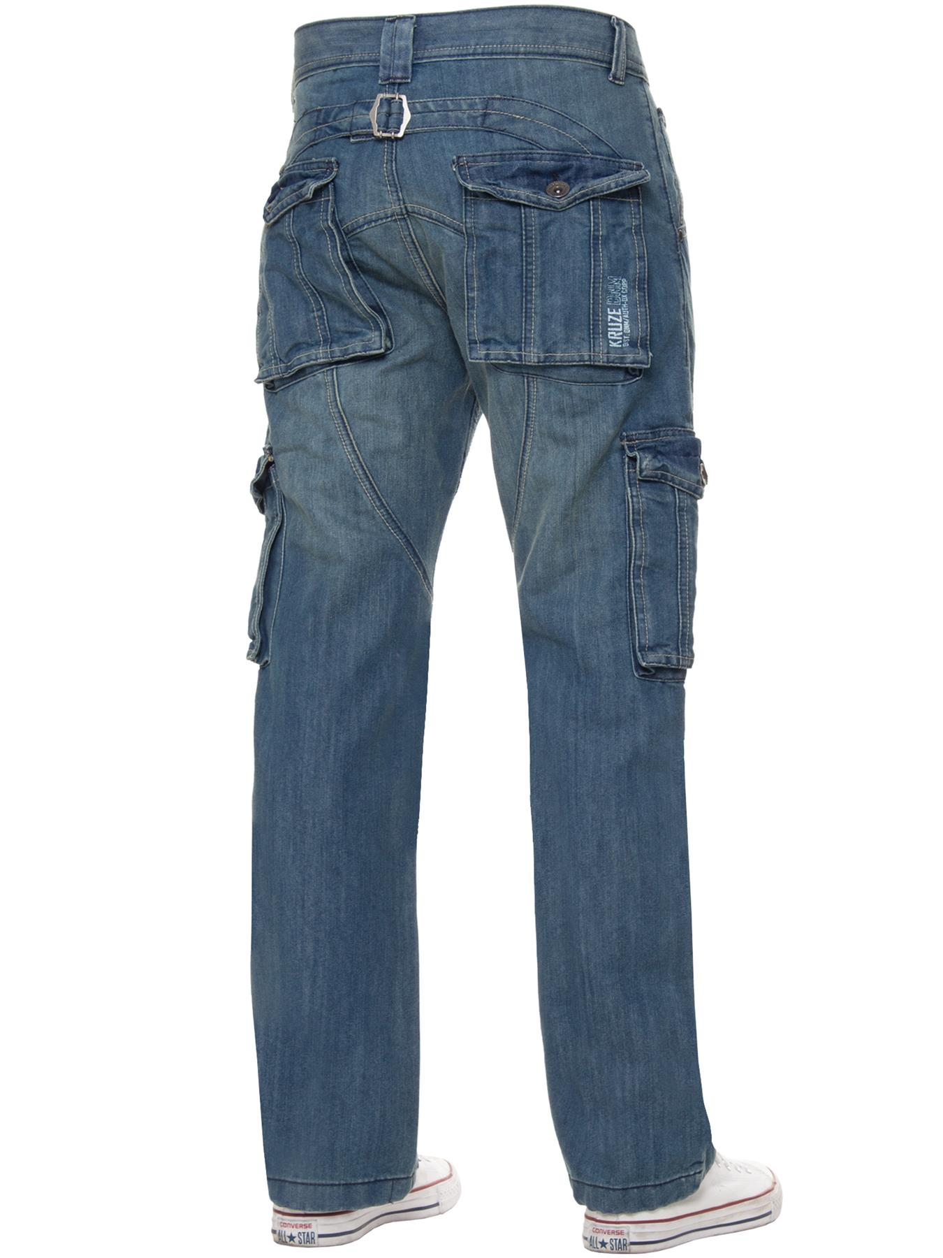 Kruze-Mens-Cargo-Combat-Jeans-Casual-Work-Denim-Pants-Big-Tall-All-Waist-Sizes thumbnail 11