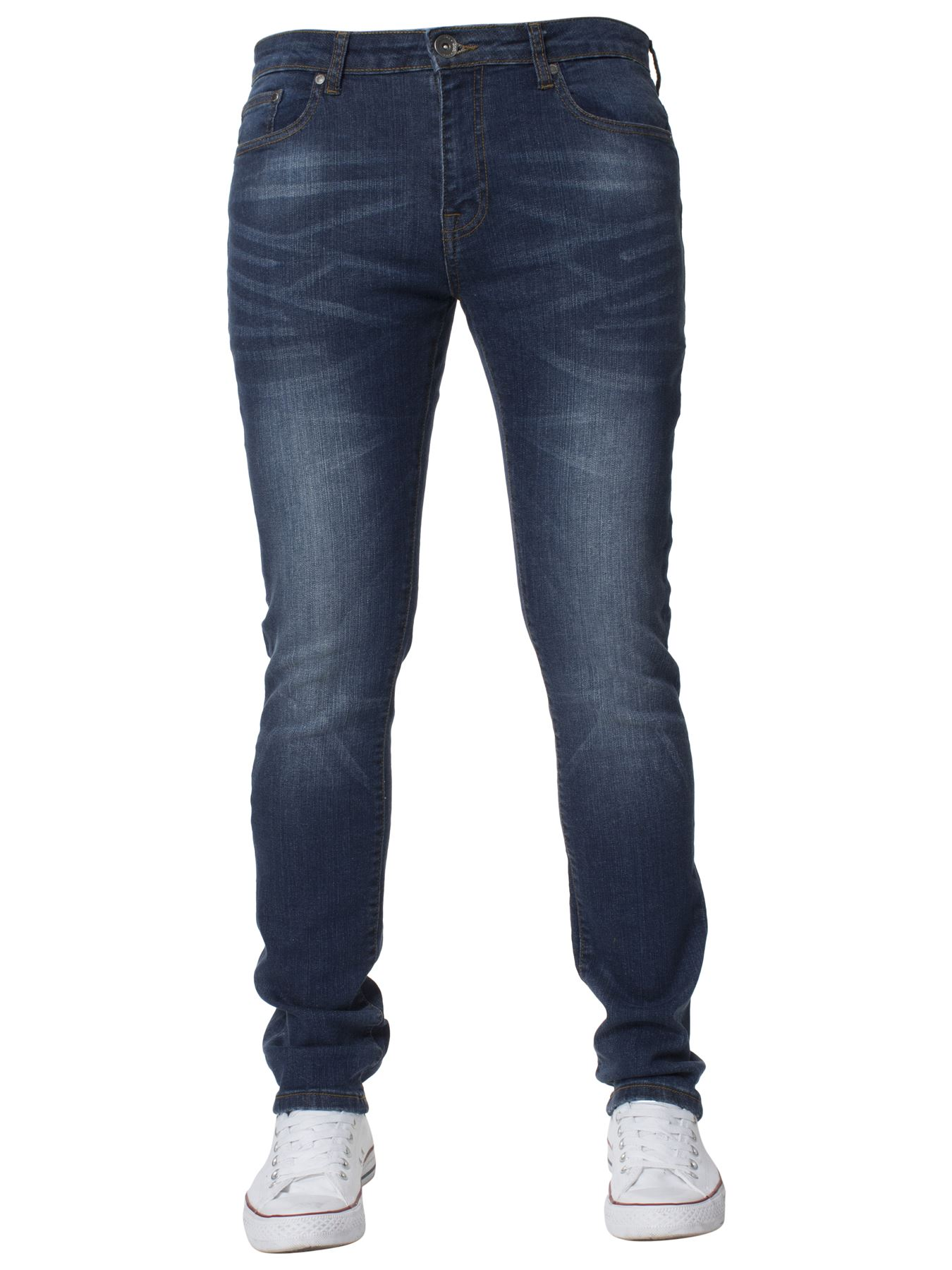 Mens-Skinny-Stretch-Jeans-Slim-Fit-Flex-Denim-Trousers-Pants-King-Sizes-by-Kruze thumbnail 10