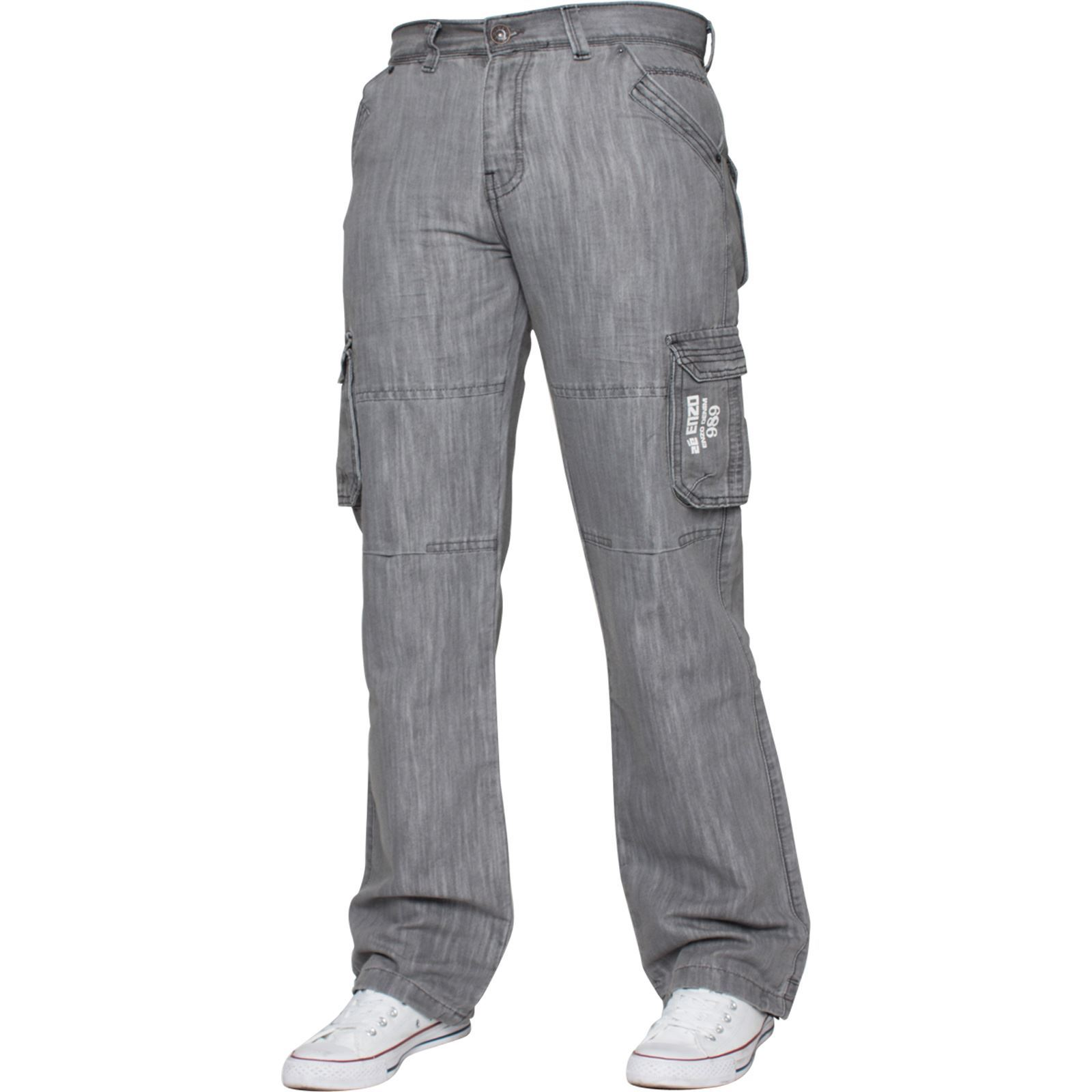 Enzo-Mens-Cargo-Combat-Trousers-Jeans-Work-Casual-Denim-Pants-Big-Tall-All-Waist thumbnail 23
