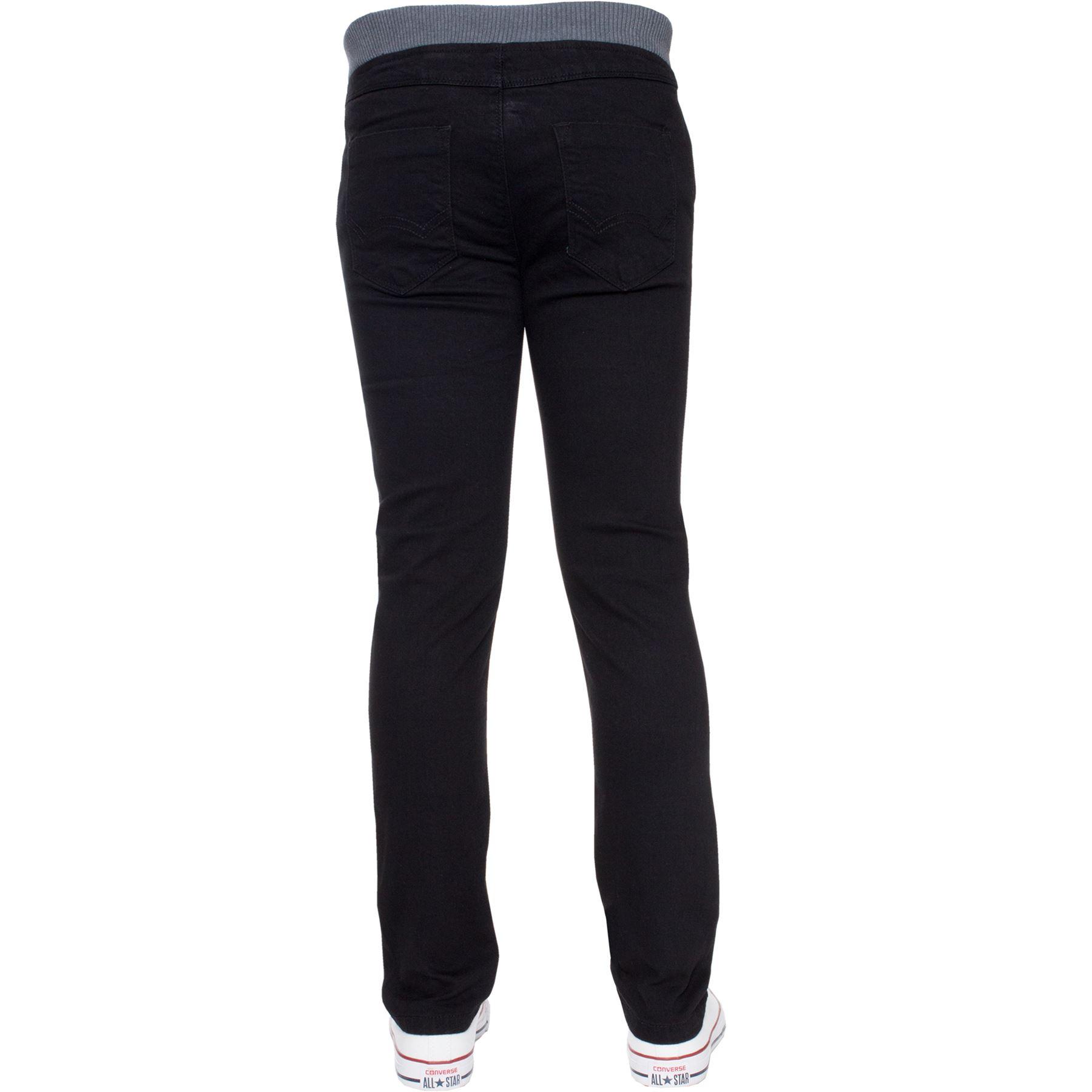Jean-Garcon-Taille-Elastique-Enfants-Skinny-Stretch-School-Denim-Pantalon-Pantalon miniature 6