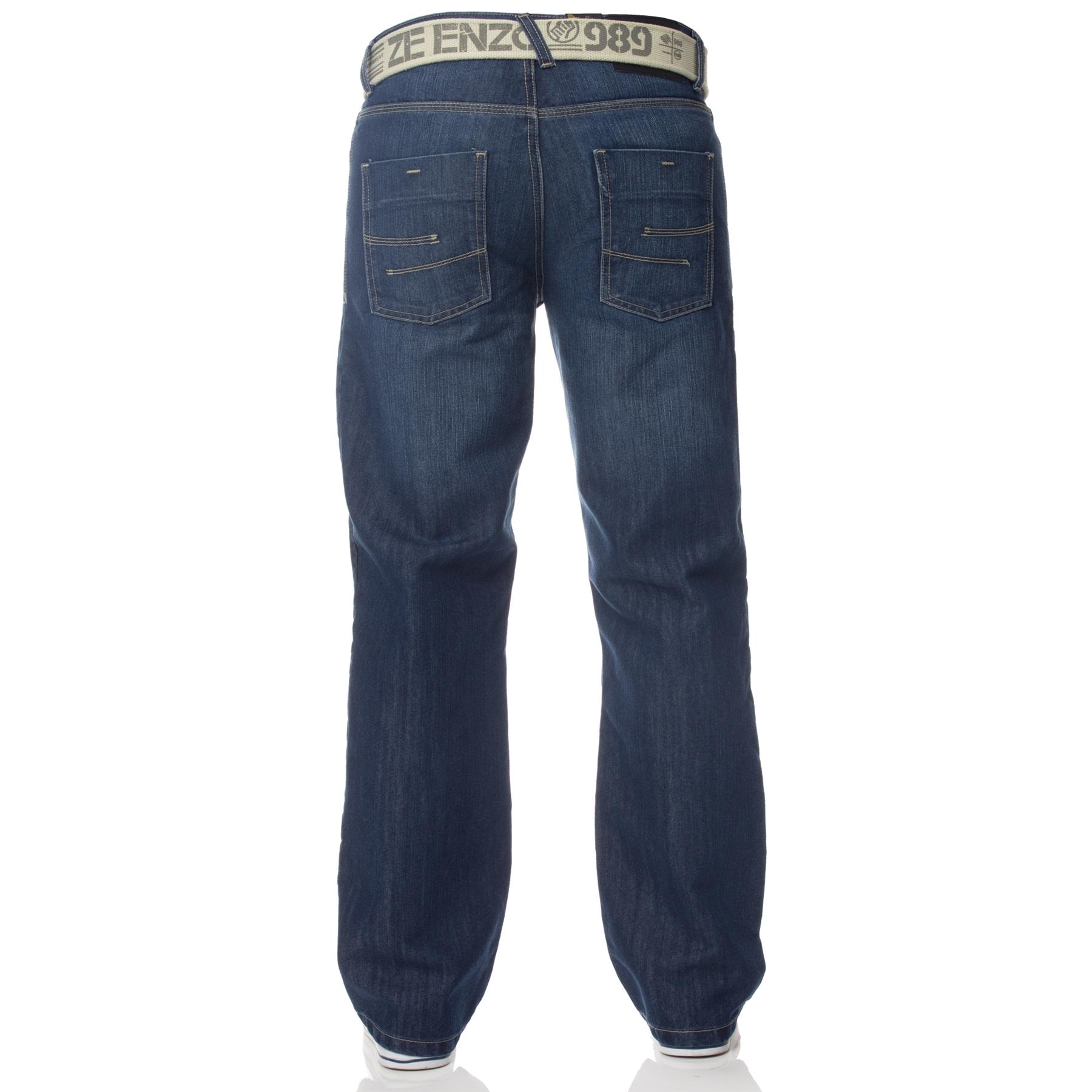 Enzo-Mens-Jeans-Big-Tall-Leg-King-Size-Denim-Pants-Chino-Trousers-Waist-44-034-60-034 miniature 13