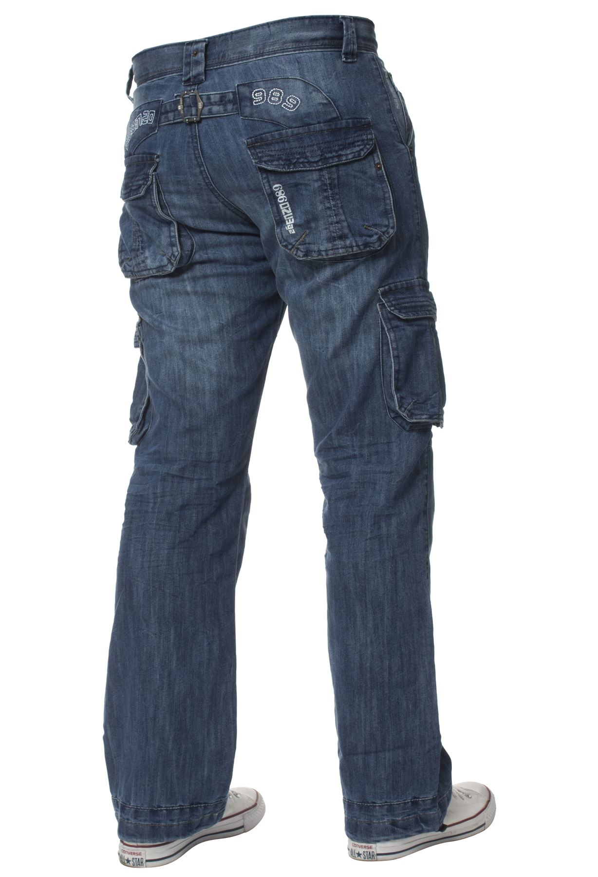 Enzo-Mens-Cargo-Combat-Trousers-Jeans-Work-Casual-Denim-Pants-Big-Tall-All-Waist thumbnail 9