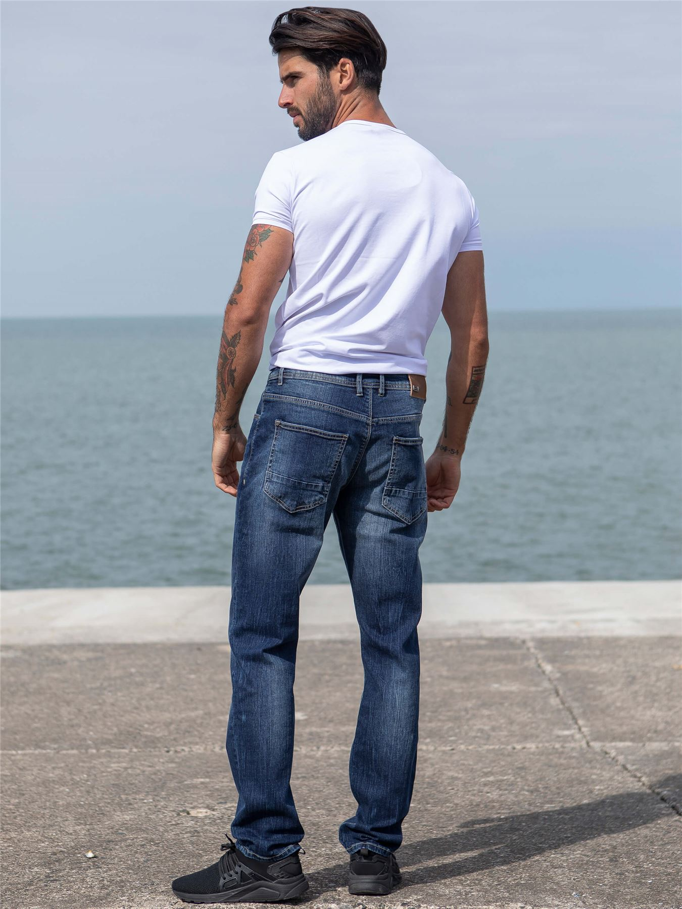 Eto-Designer-Mens-Tapered-Jeans-Slim-Fit-Stretch-Denim-Trouser-Pants-All-Waists thumbnail 10