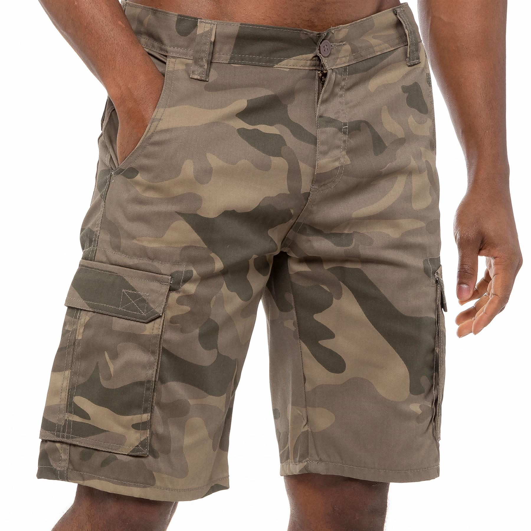 thumbnail 25 - Kruze Jeans Mens Army Combat Shorts Camouflage Cargo Casual Camo Work Half Pants