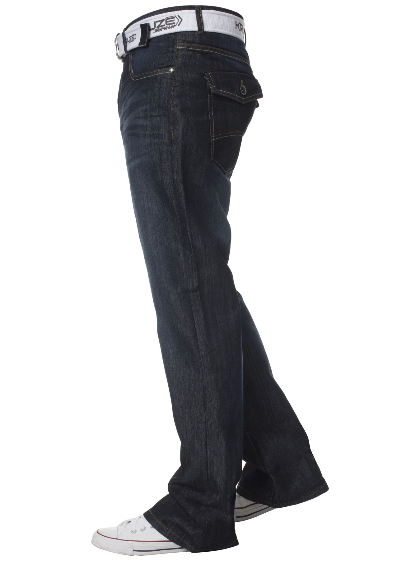 Kruze-Denim-New-Mens-Bootcut-Jeans-Wide-Leg-Flare-Pants-King-Big-All-Waist-Sizes thumbnail 10