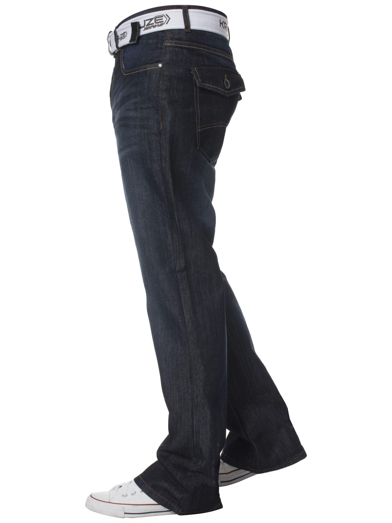 Kruze-Denim-Nuevo-Para-Hombre-Bootcut-Pierna-Ancha-Flare-Pantalones-Cintura-Tallas-Grandes-Rey-todos miniatura 10