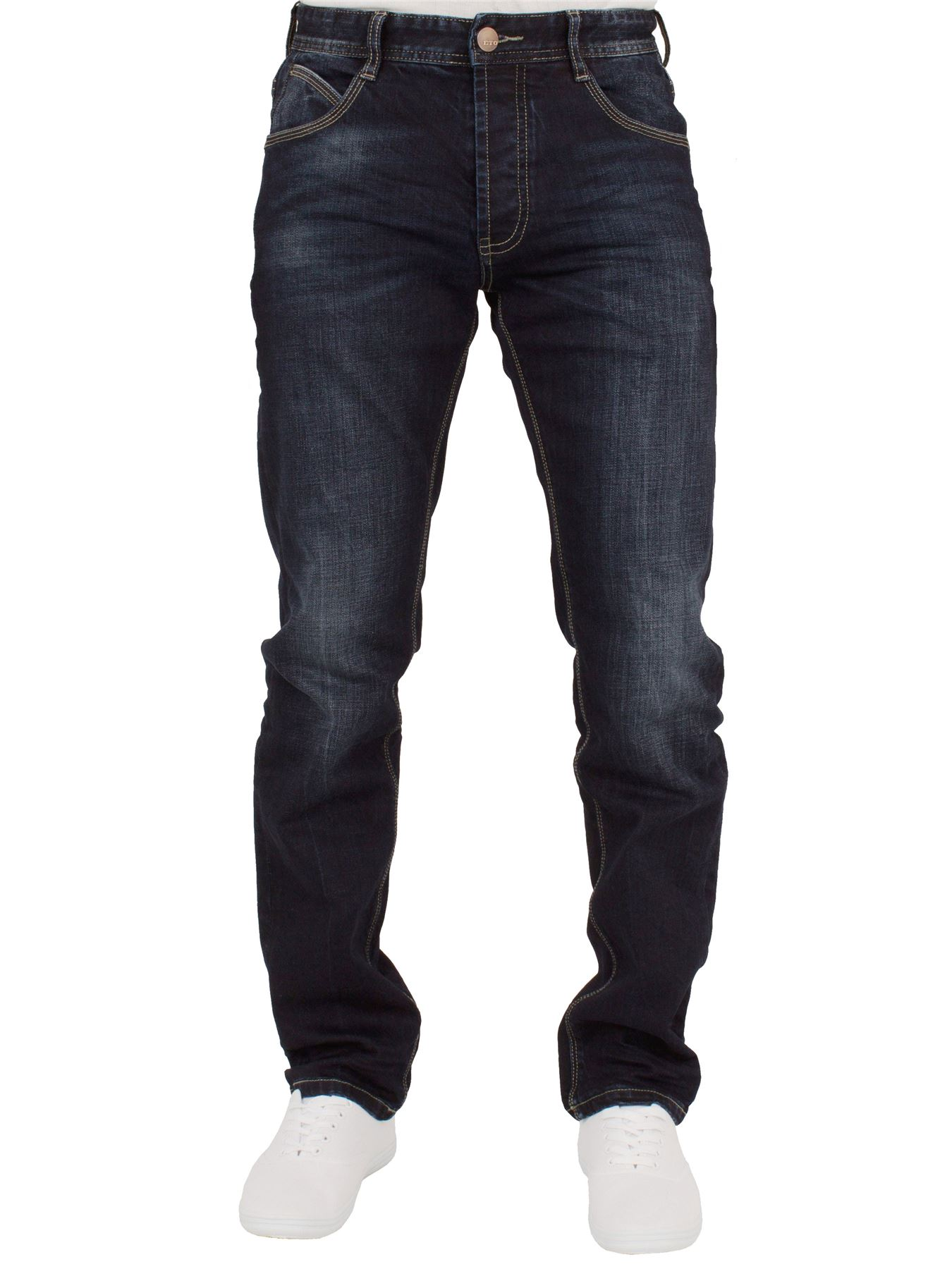 Eto-Designer-Mens-Tapered-Jeans-Slim-Fit-Stretch-Denim-Trouser-Pants-All-Waists thumbnail 15