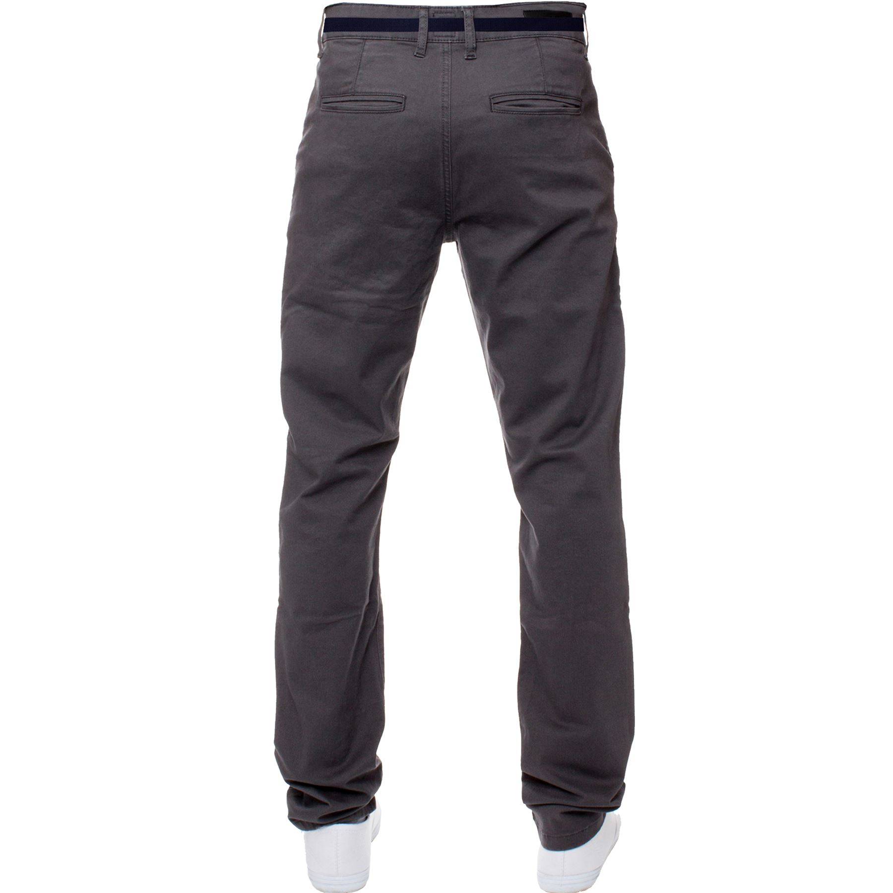 ENZO-Para-Hombres-Pantalones-Slim-Fit-Algodon-Elastico-Pantalones-Chinos-Con-Cinturon-BIG-amp-TALL miniatura 11