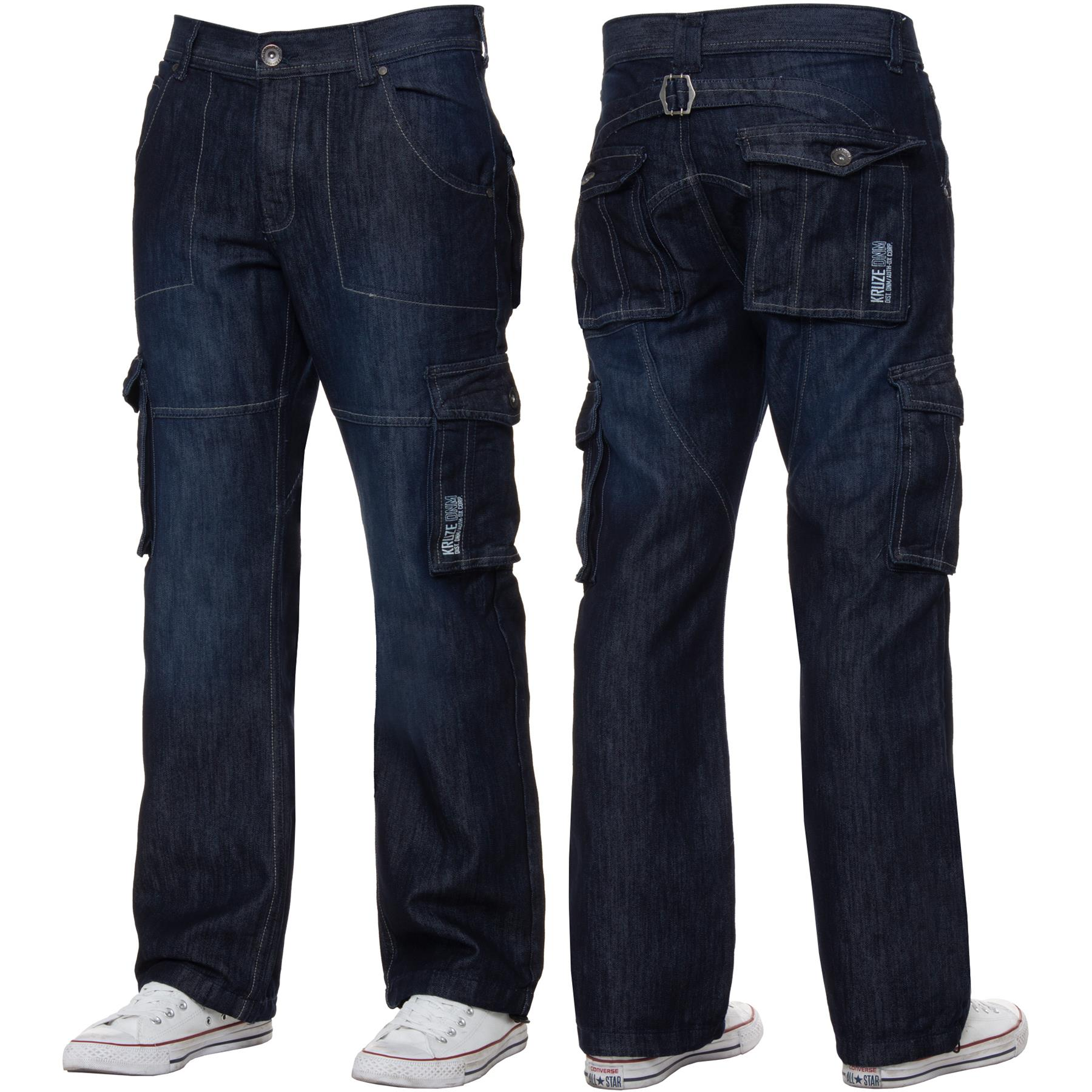 Kruze-Mens-Cargo-Combat-Jeans-Casual-Work-Denim-Pants-Big-Tall-All-Waist-Sizes thumbnail 15