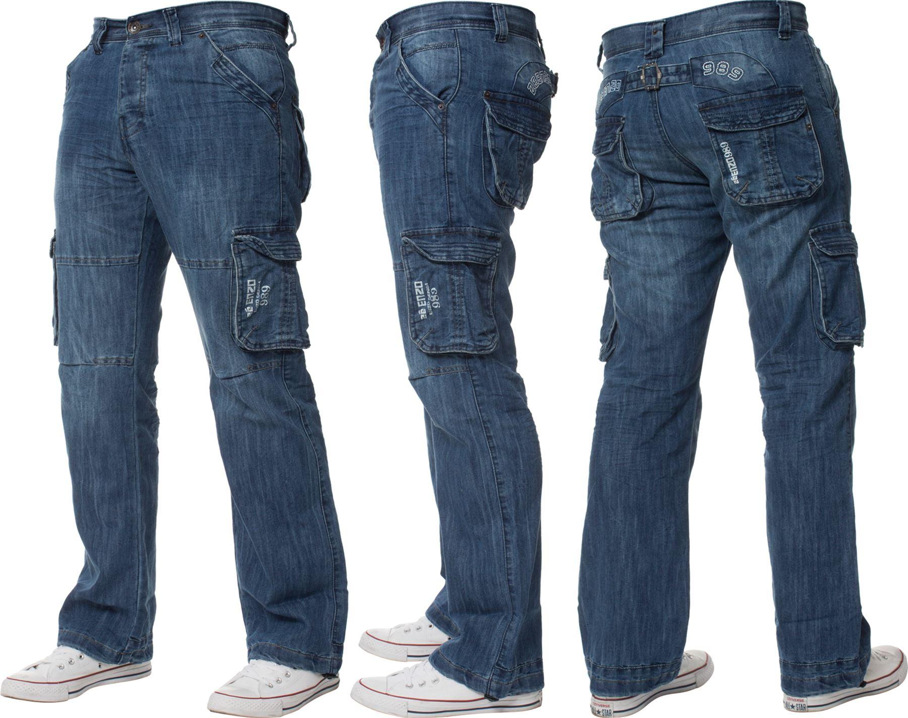 Nouveau-Homme-ENZO-Combat-Pantalon-Cargo-Jeans-Denim-Heavy-Duty-travail-occasionnel-pantalon