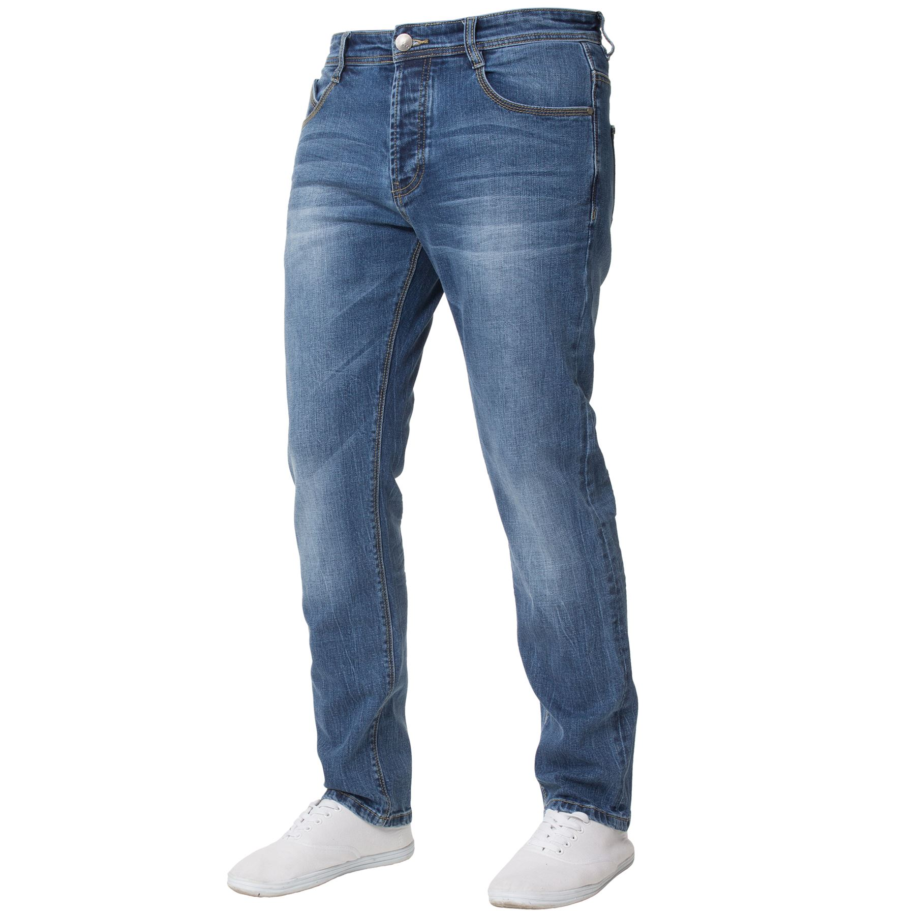 Eto-Designer-Mens-Tapered-Jeans-Slim-Fit-Stretch-Denim-Trouser-Pants-All-Waists thumbnail 3
