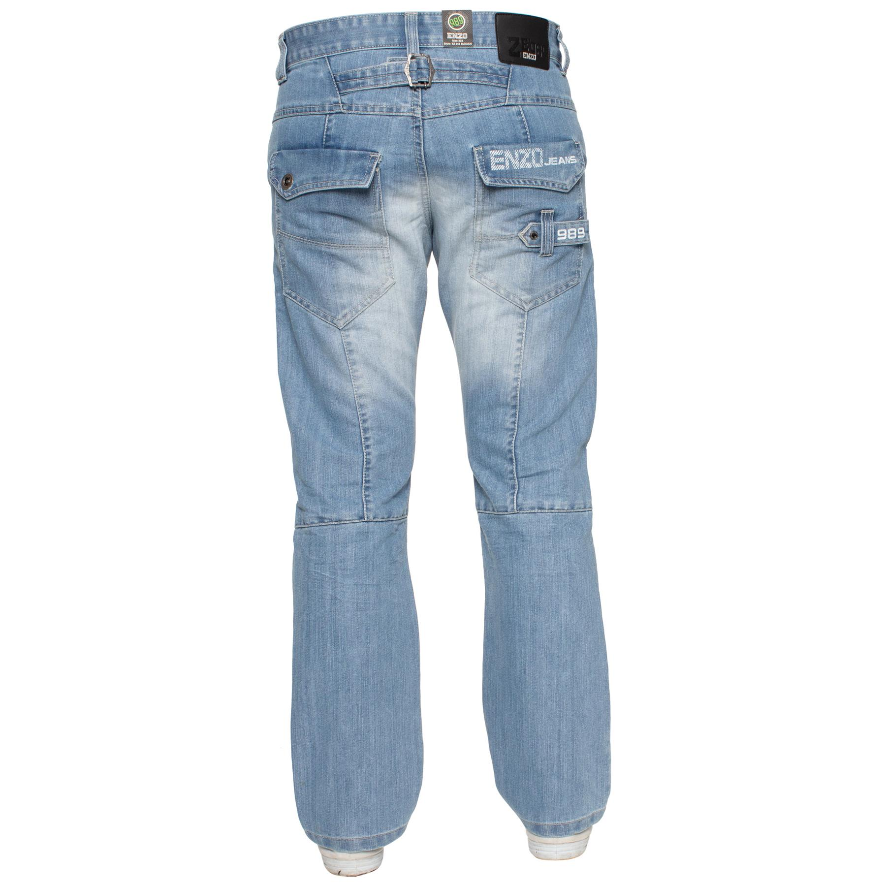 Enzo-Mens-Jeans-Big-Tall-Leg-King-Size-Denim-Pants-Chino-Trousers-Waist-44-034-60-034 miniature 54
