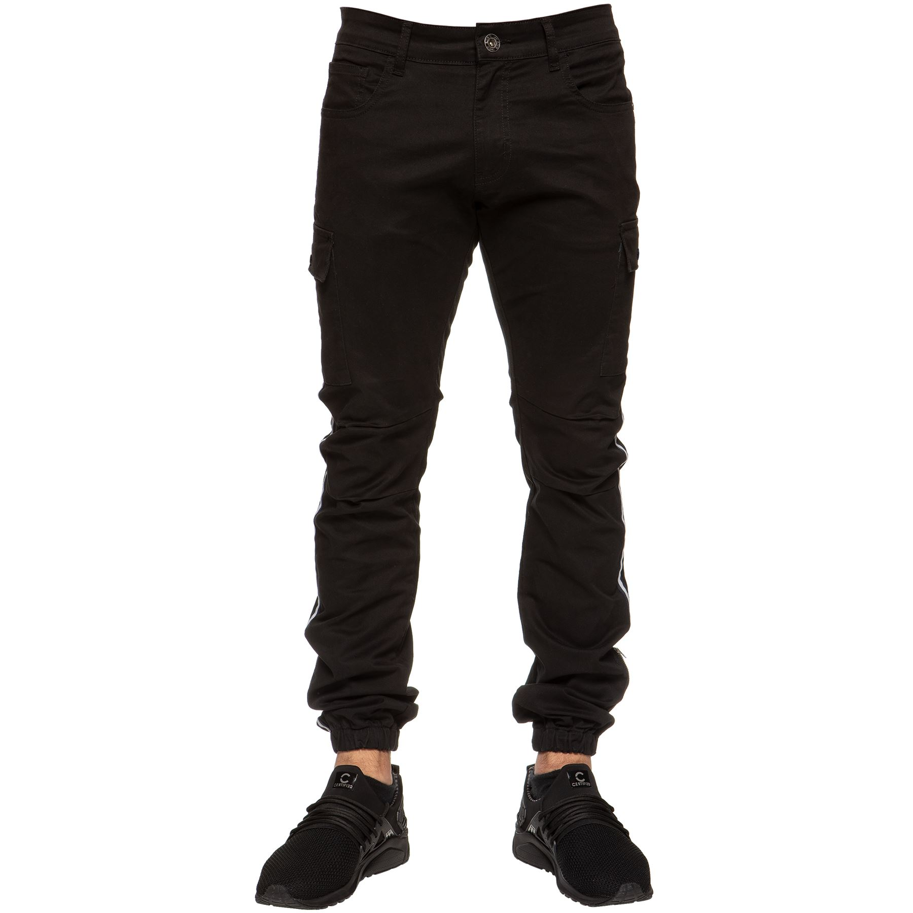 Enzo-Jeans-Mens-Combat-Trousers-Cargo-Chinos-Slim-Stretch-Cuffed-Joggers-Pants thumbnail 3