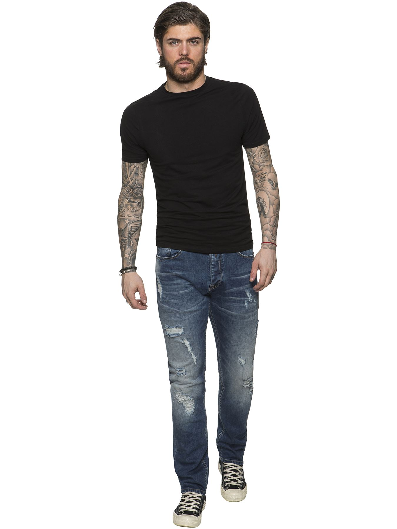 ETO-Designer-Mens-Ripped-Blue-Jeans-Distressed-Denim-Tapered-Fit-Trousers-Pants thumbnail 6