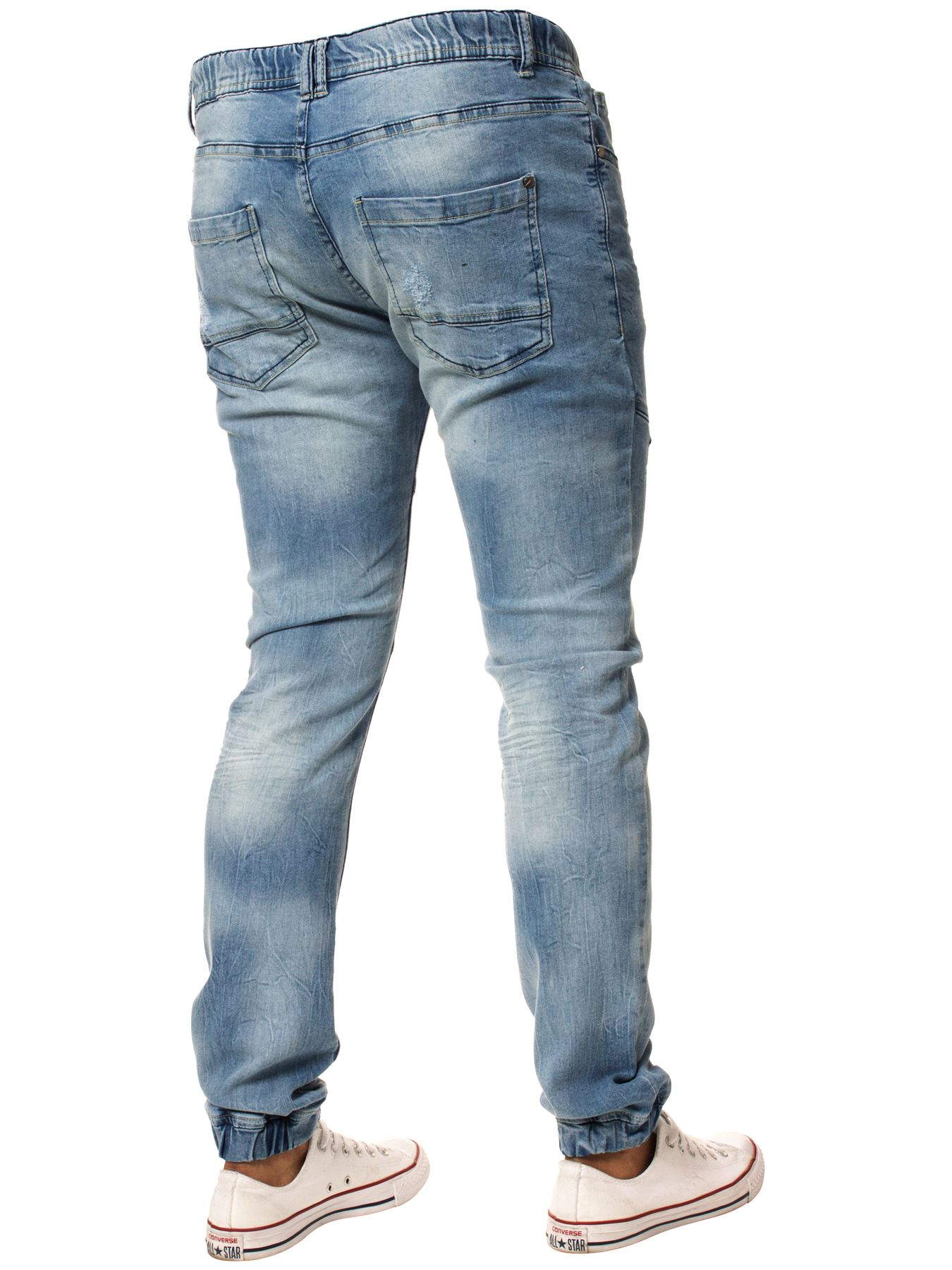 Enzo-Mens-Cuffed-Jeans-Stretch-Fit-Ripped-Denim-Jogger-Pants-Big-Tall-All-Waists thumbnail 11