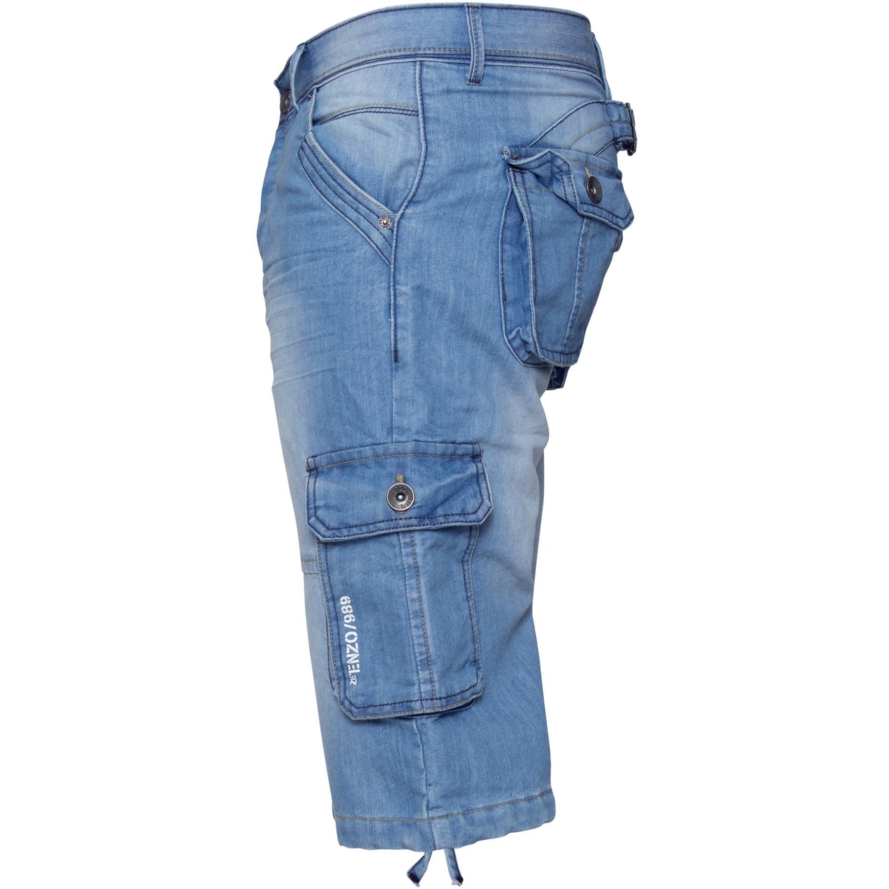 ENZO-Jeans-para-hombre-de-carga-combate-informal-de-verano-Shorts-Pantalones-Cortos-de-Jeans-Todas miniatura 10