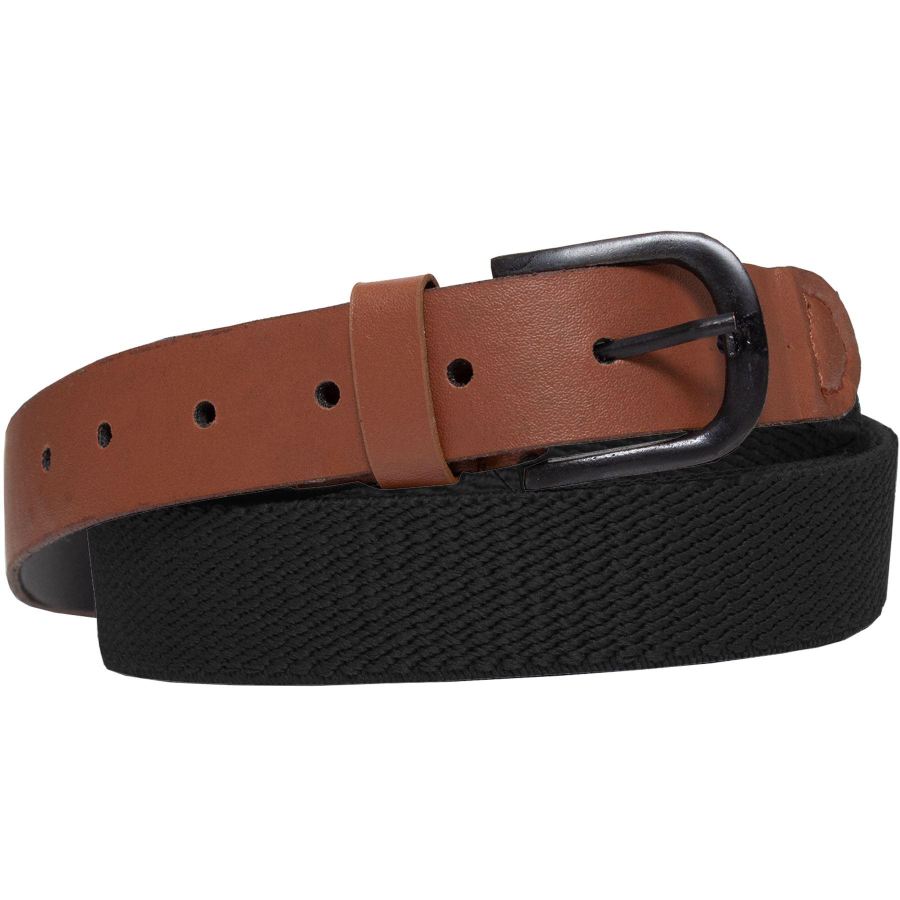 ENZO-Mens-Womens-Elasticated-Belts-Canvas-Stretch-PU-Leather-Trim-Braided-Belt Indexbild 11