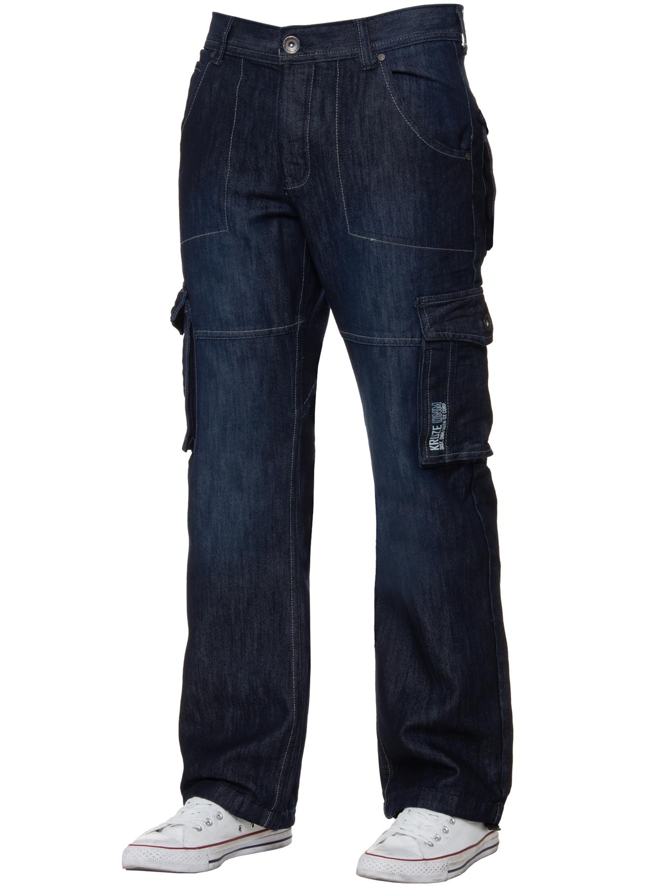 Kruze-Mens-Cargo-Combat-Jeans-Casual-Work-Denim-Pants-Big-Tall-All-Waist-Sizes thumbnail 22