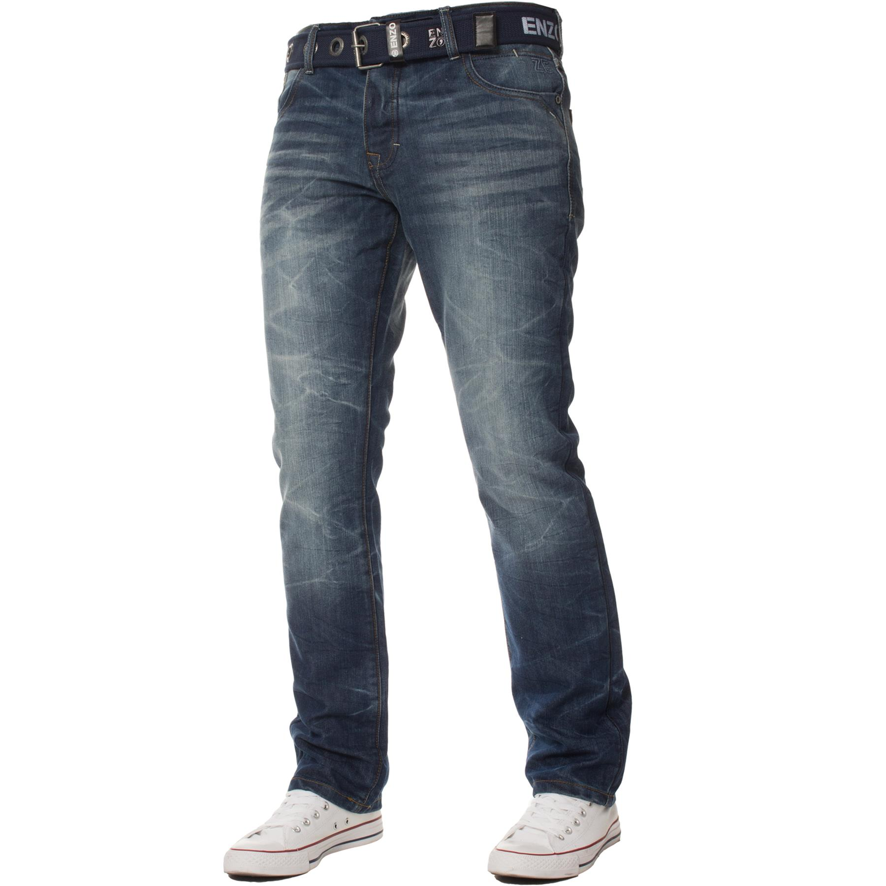 Enzo-Mens-Big-Tall-Jeans-Leg-King-Size-Denim-Pants-Chino-Trousers-Pants-44-034-60-034 thumbnail 84