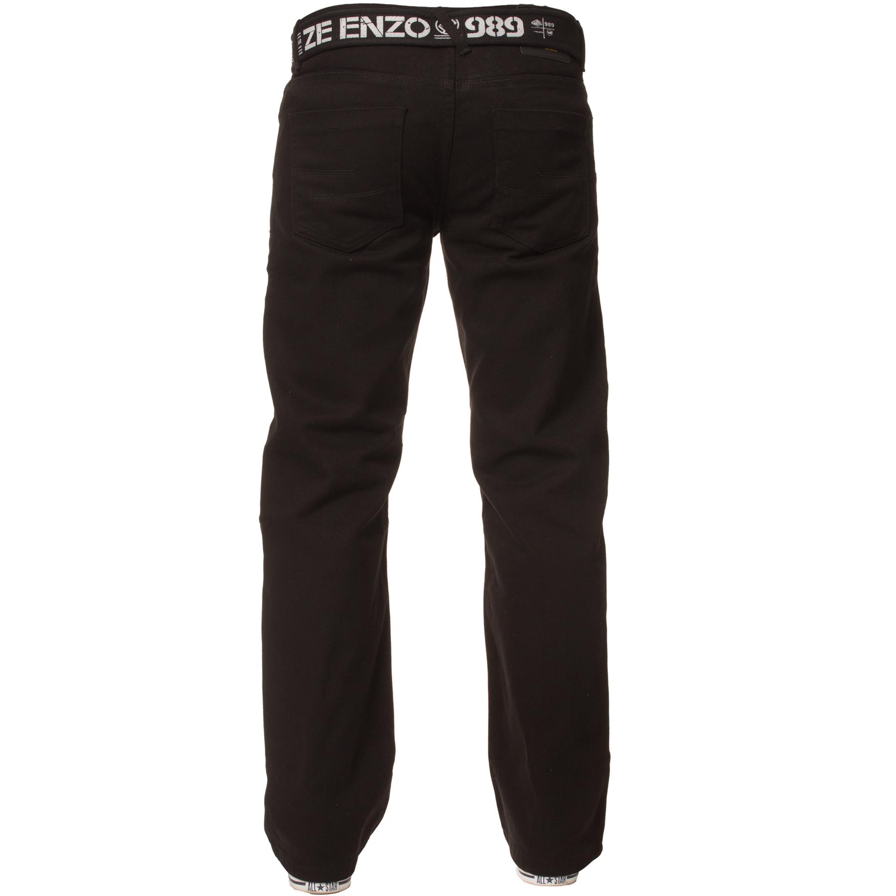 Enzo-Mens-Jeans-Big-Tall-Leg-King-Size-Denim-Pants-Chino-Trousers-Waist-44-034-60-034 miniature 5