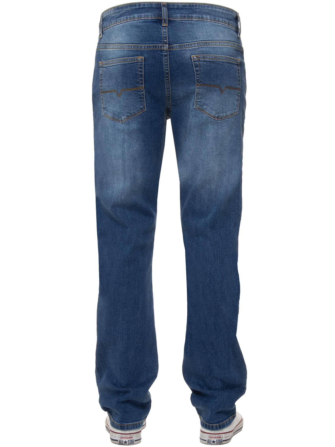 Para-Hombre-Pierna-Recta-Bootcut-Stretch-Denim-Regulares-Pantalon-de-trabajo-Kruze-Todas-Cinturas miniatura 13
