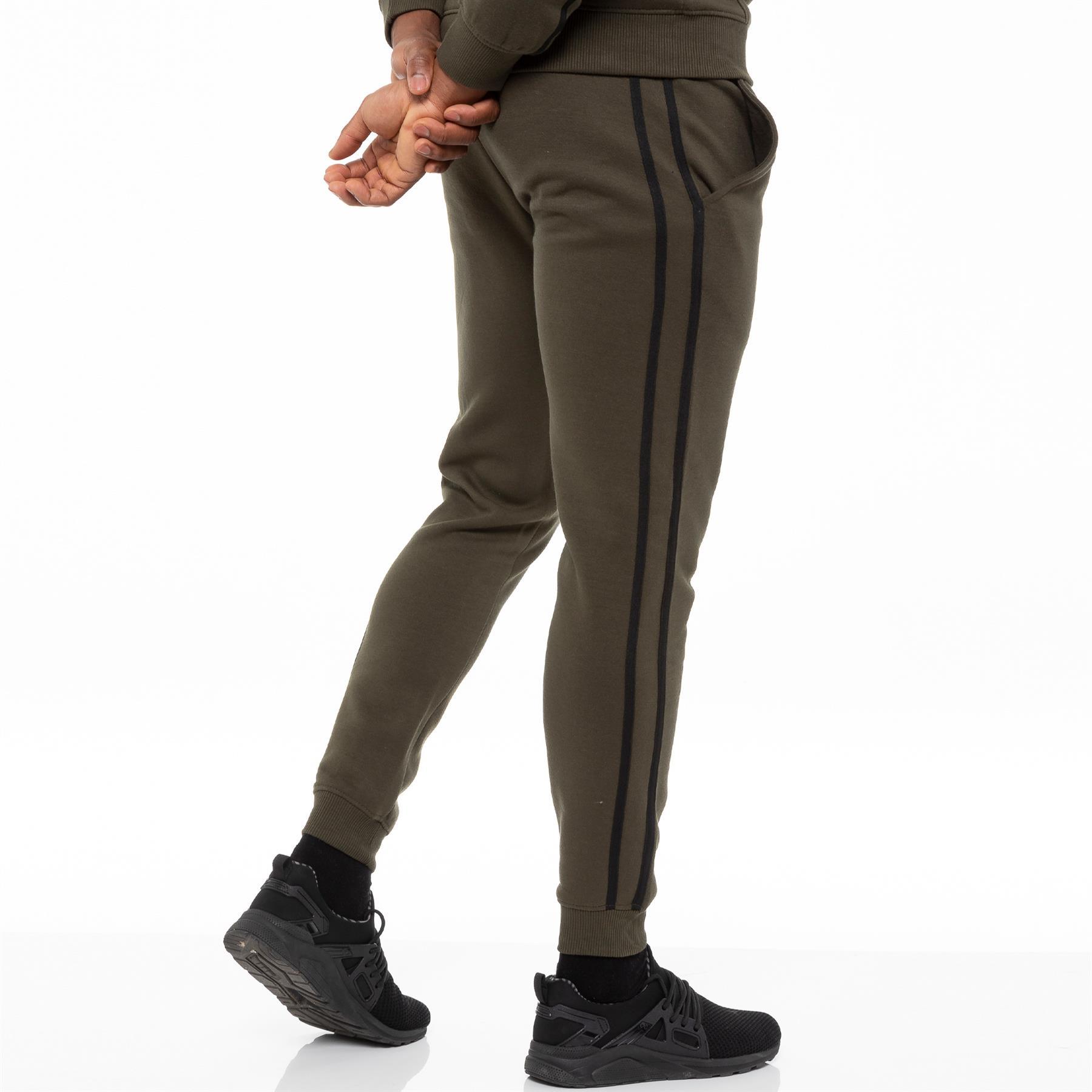 Enzo Mens Joggers Striped Tracksuit Jogging Bottoms Gym Sports Fleece Sweatpants