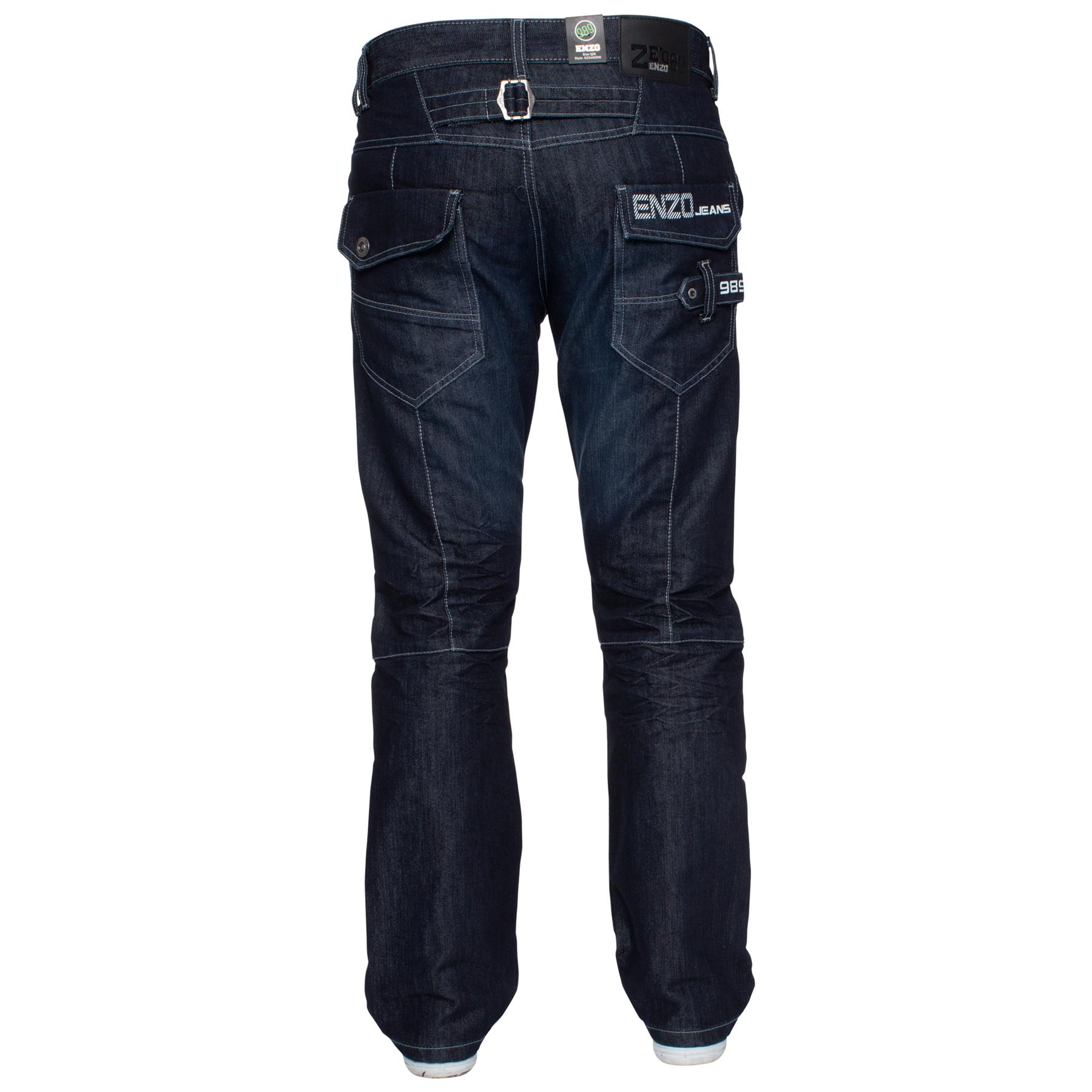 ENZO-Jeans-para-hombre-Big-Alto-Pierna-King-Size-Jeans-Pantalones-Chino-Pantalones-Pantalones-44-034 miniatura 69