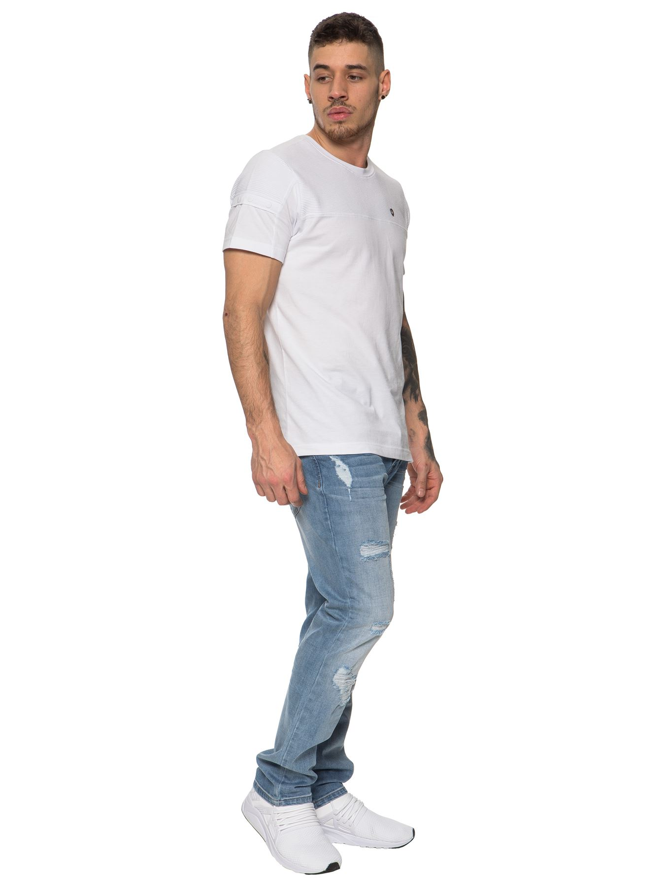 ETO-Designer-Mens-Ripped-Blue-Jeans-Distressed-Denim-Tapered-Fit-Trousers-Pants thumbnail 12