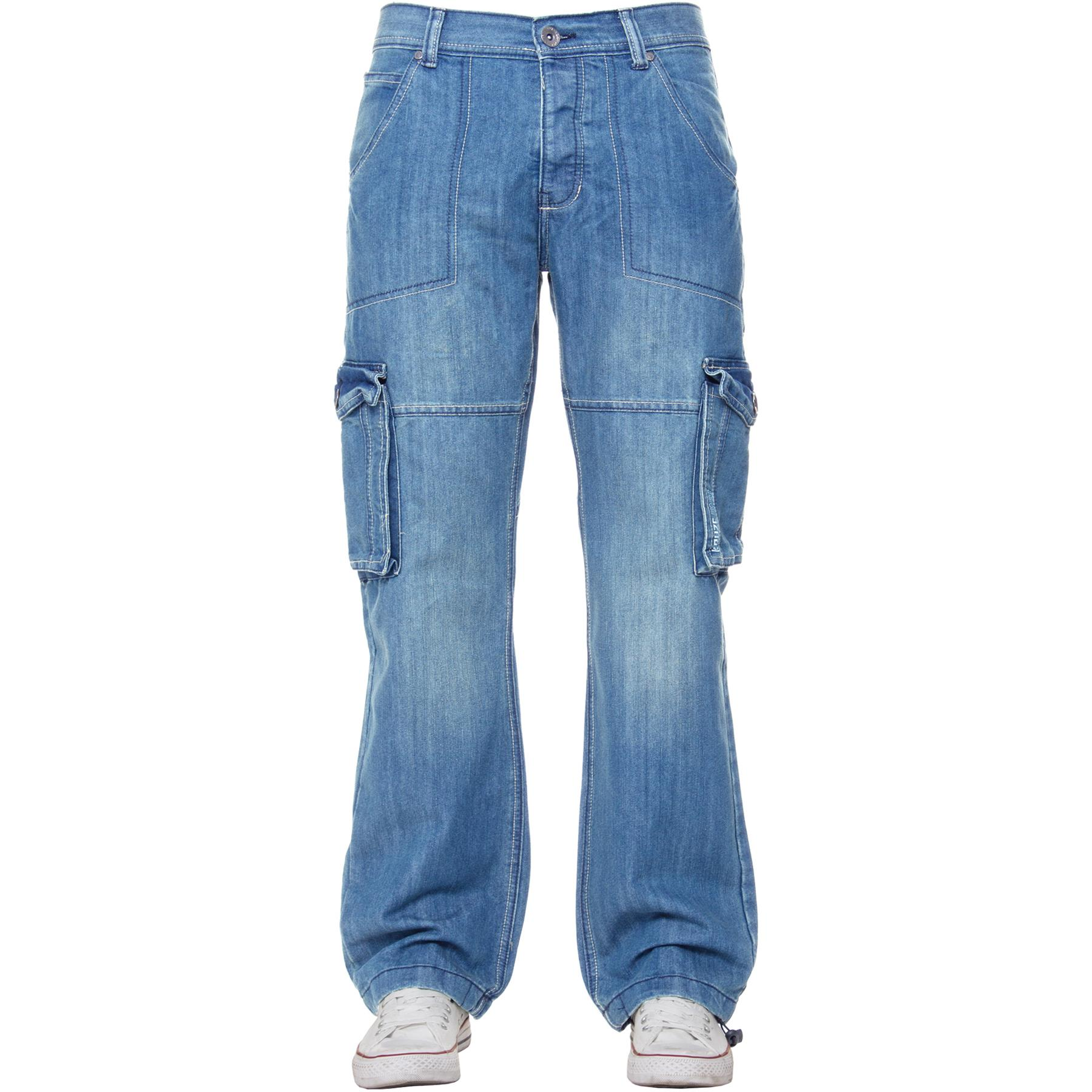 Kruze-Mens-Combat-Jeans-Casual-Cargo-Work-Denim-Trousers-Big-Tall-All-Waists thumbnail 15