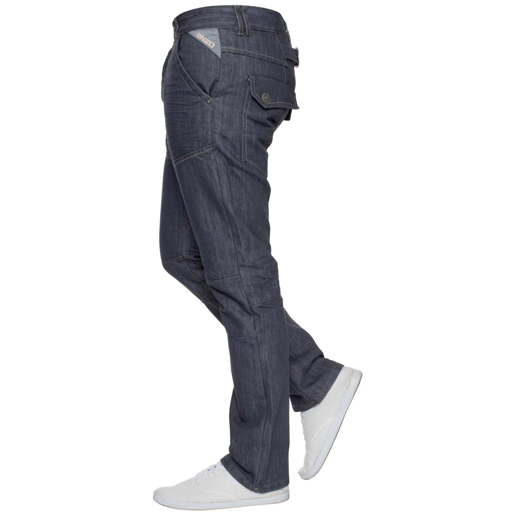 Enzo-Mens-Jeans-Big-Tall-Leg-King-Size-Denim-Pants-Chino-Trousers-Waist-44-034-60-034 miniature 89