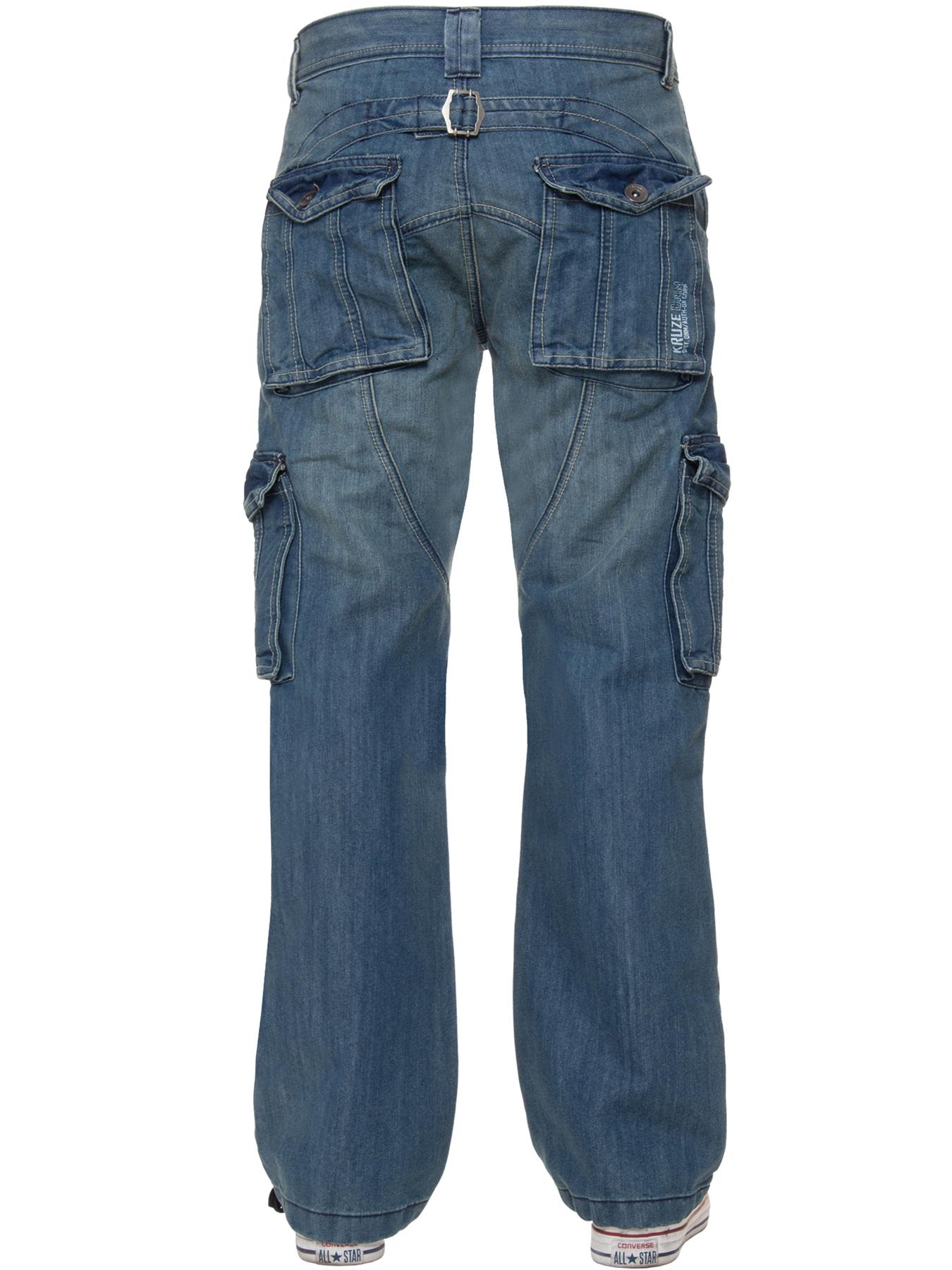 Kruze-Mens-Desginer-Cargo-Combat-Jeans-Trousers-Denim-Pants-Big-Tall-All-Waists thumbnail 6
