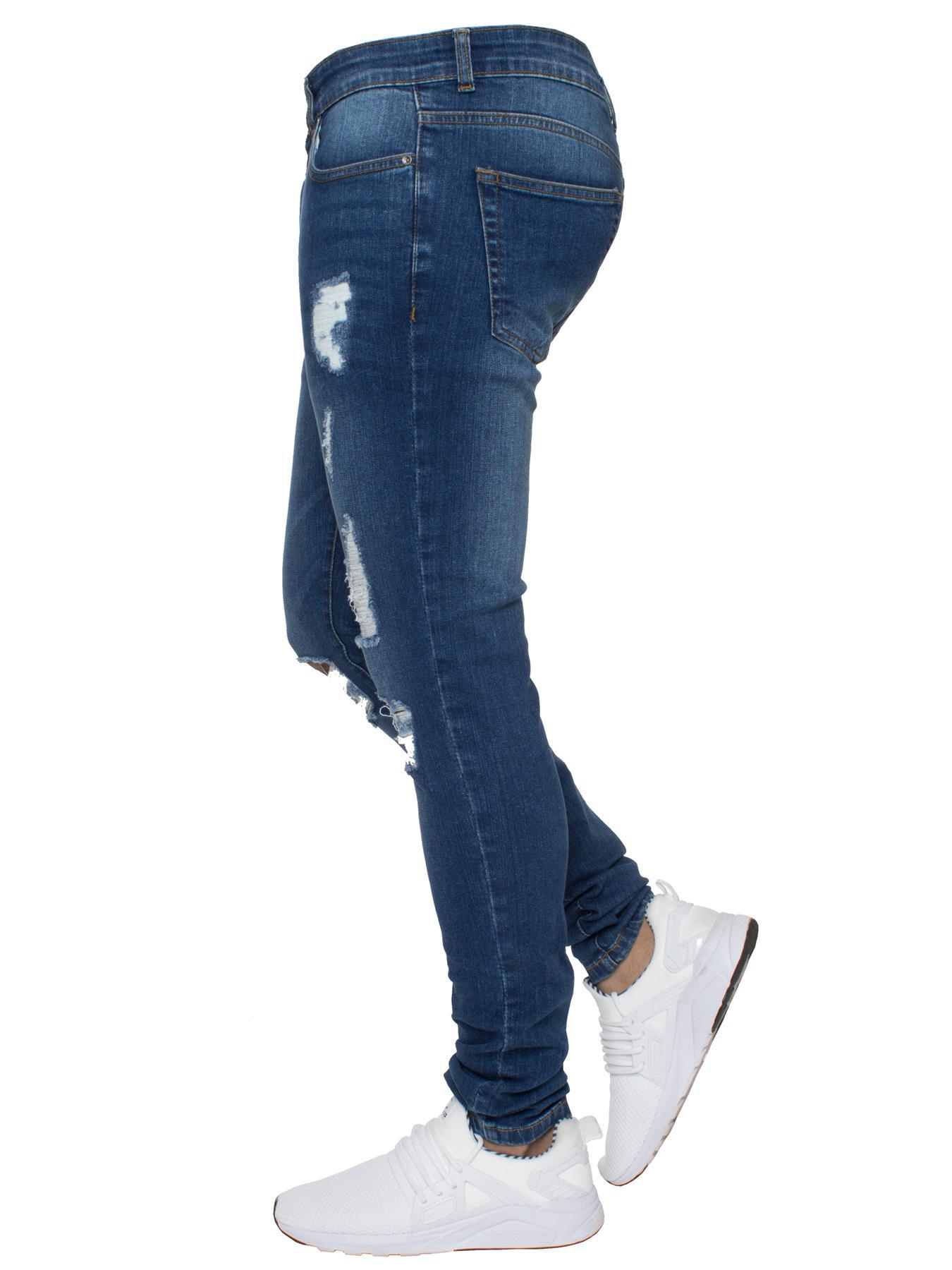 Para-hombre-Super-Skinny-Ripped-Jeans-Pantalones-Ajustados-desgastados-Denim-Envejecido-Todas miniatura 4