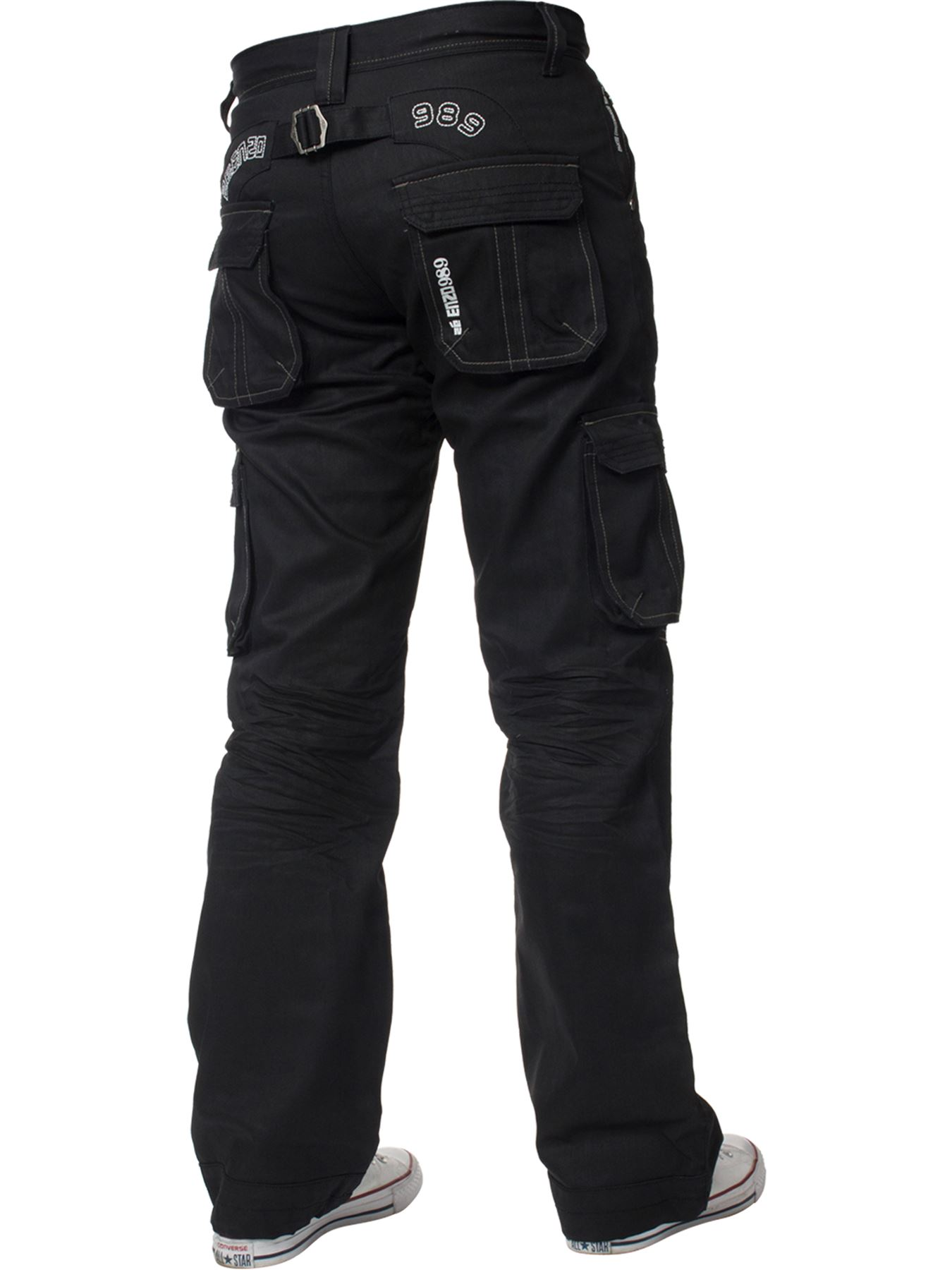 Enzo-Mens-Cargo-Combat-Trousers-Jeans-Work-Casual-Denim-Pants-Big-Tall-All-Waist thumbnail 19