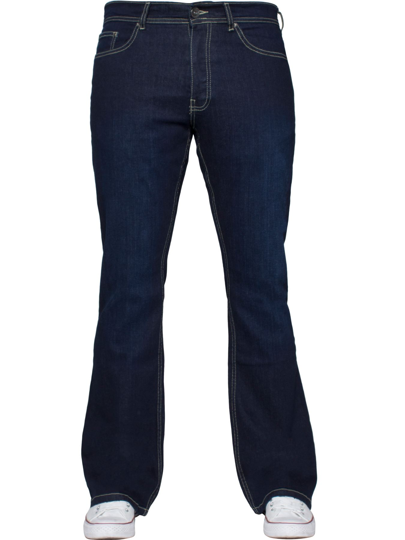 Kruze-Mens-Basic-Straight-Leg-Bootcut-Stretch-Jeans-Denim-Regular-Big-Tall-Waist thumbnail 57