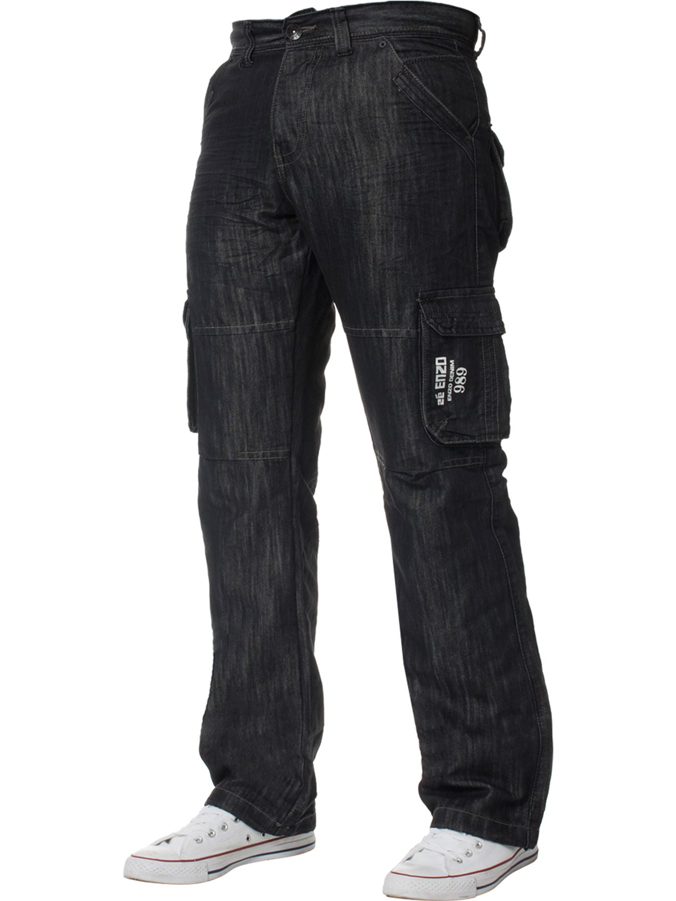 Enzo-Mens-Cargo-Combat-Trousers-Jeans-Work-Casual-Denim-Pants-Big-Tall-All-Waist thumbnail 3