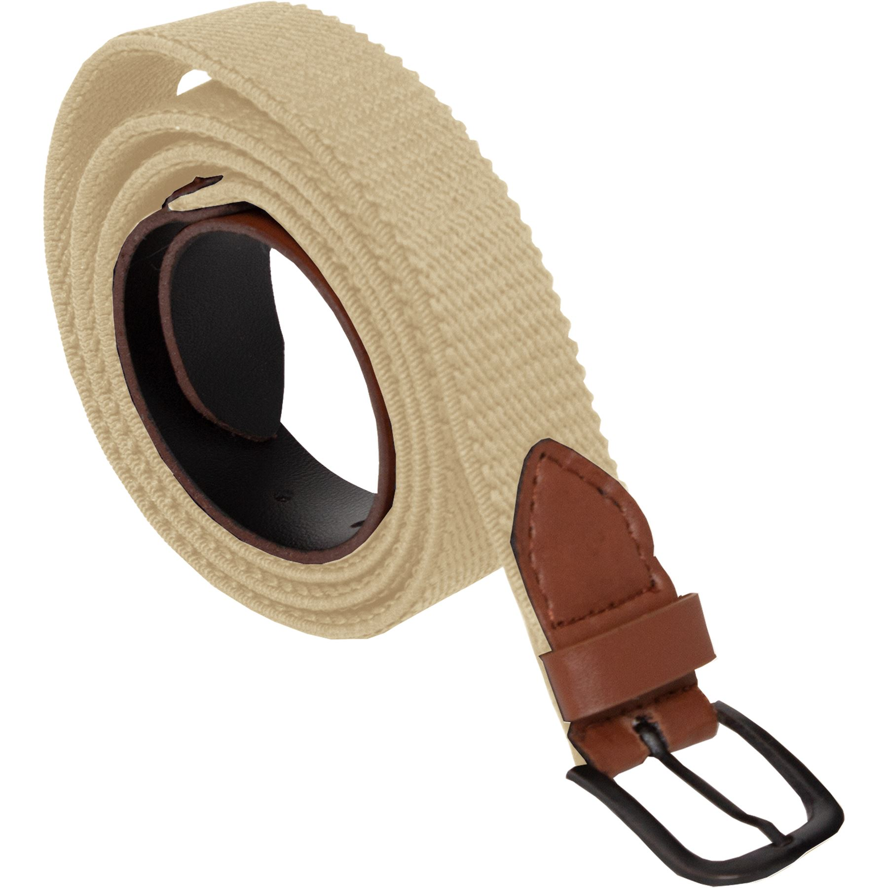 ENZO-Mens-Womens-Elasticated-Belts-Canvas-Stretch-PU-Leather-Trim-Braided-Belt Indexbild 7