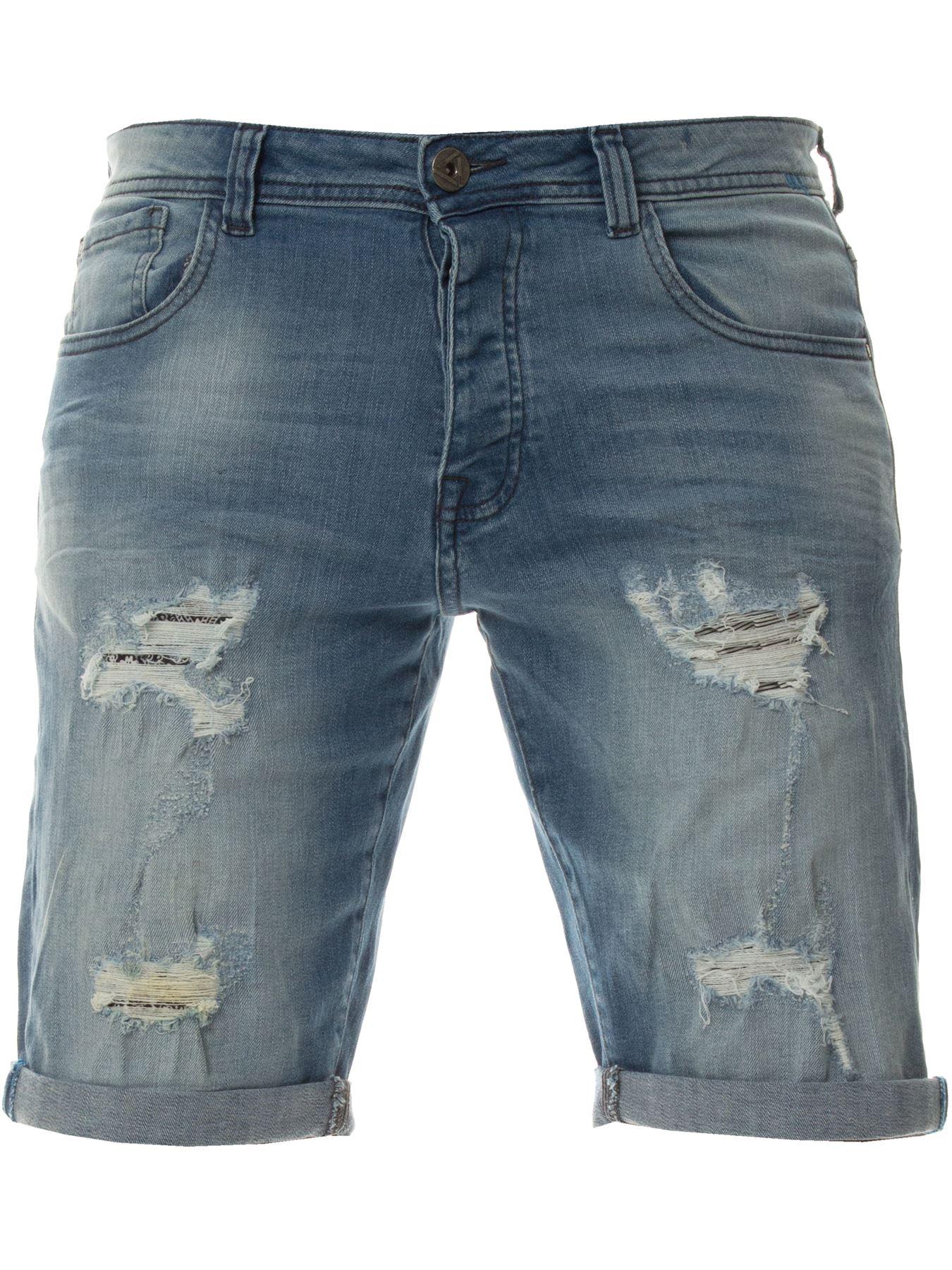 Mens-Denim-Shorts-ETO-Jeans-Stretch-Slim-Fit-Distressed-Ripped-Blue-Half-Pants thumbnail 9