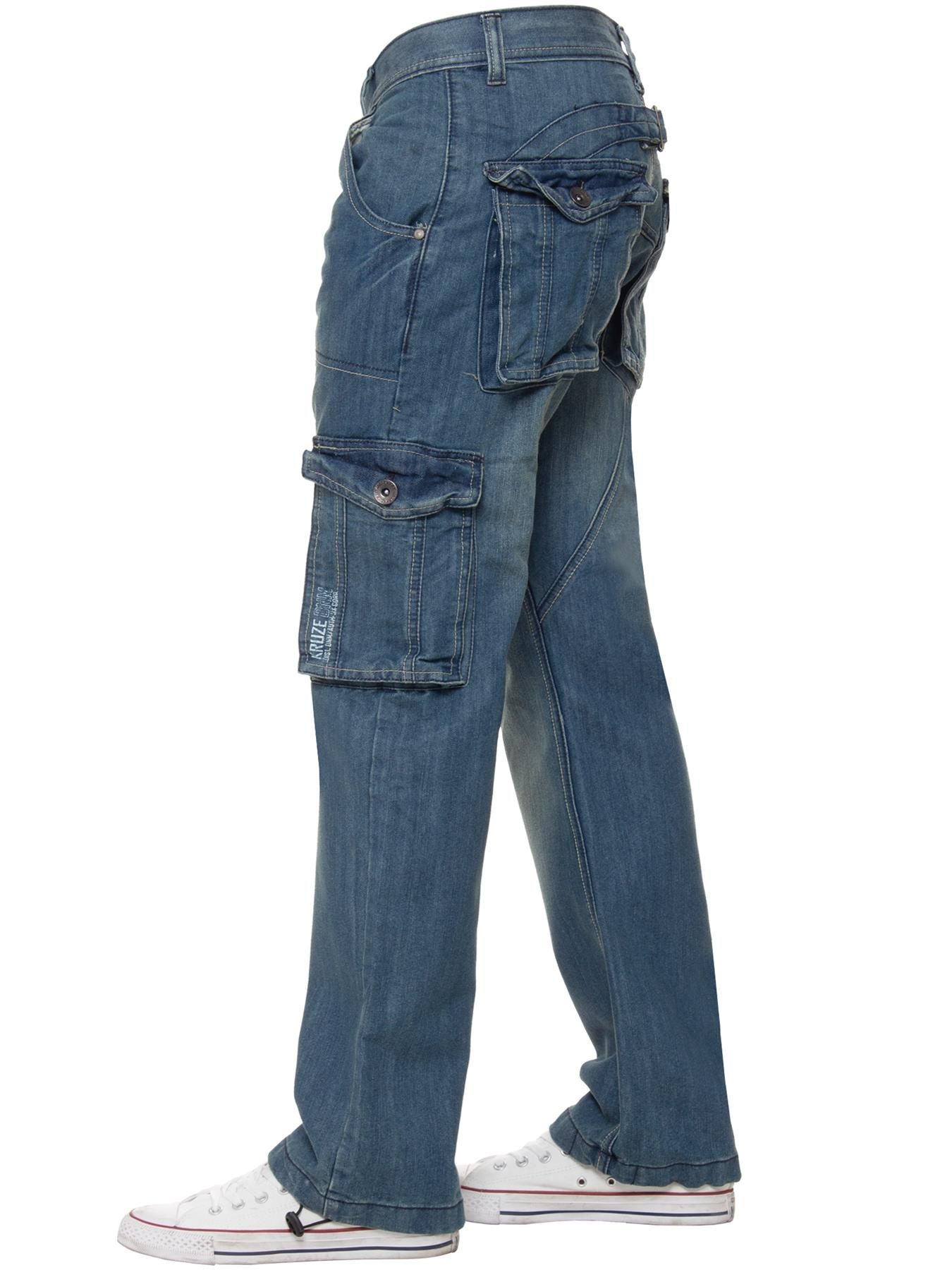 Kruze-Mens-Cargo-Combat-Jeans-Casual-Work-Denim-Pants-Big-Tall-All-Waist-Sizes thumbnail 12