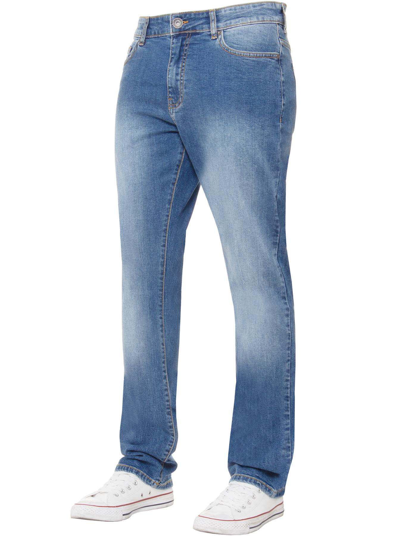 Kruze-Mens-Basic-Straight-Leg-Bootcut-Stretch-Jeans-Denim-Regular-Big-Tall-Waist thumbnail 18