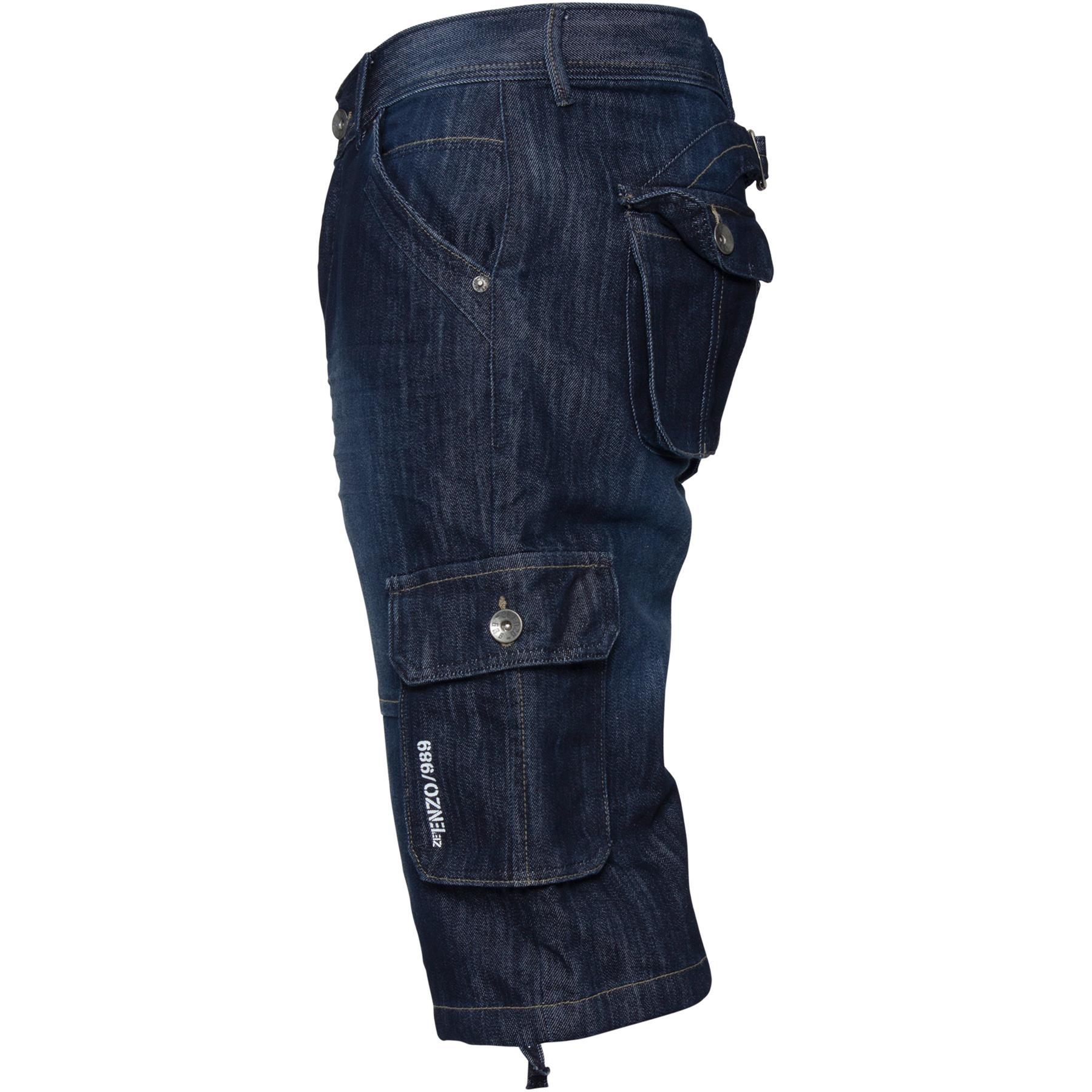 ENZO-Jeans-para-hombre-de-carga-combate-informal-de-verano-Shorts-Pantalones-Cortos-de-Jeans-Todas miniatura 16