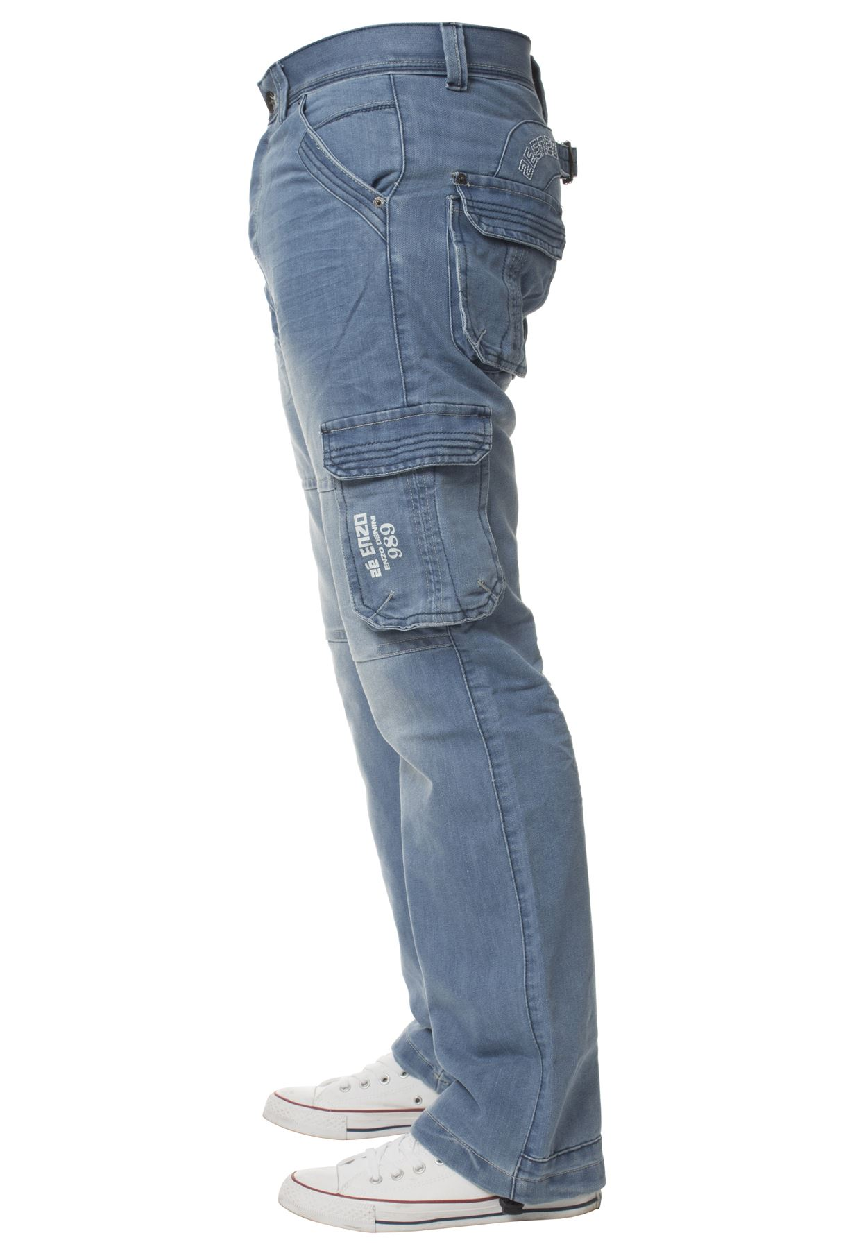 Enzo-Mens-Cargo-Combat-Trousers-Jeans-Work-Casual-Denim-Pants-Big-Tall-All-Waist thumbnail 15