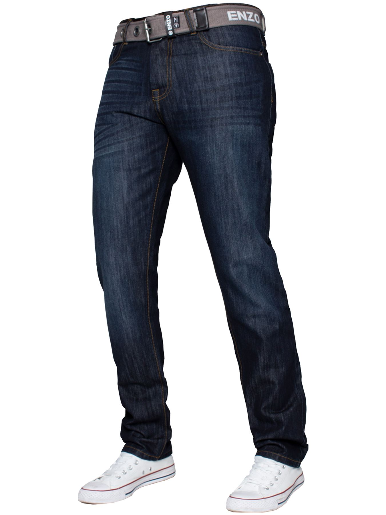 Enzo-Mens-Straight-Leg-Jeans-Regular-Fit-Denim-Pants-Big-Tall-All-Waists-Sizes thumbnail 16