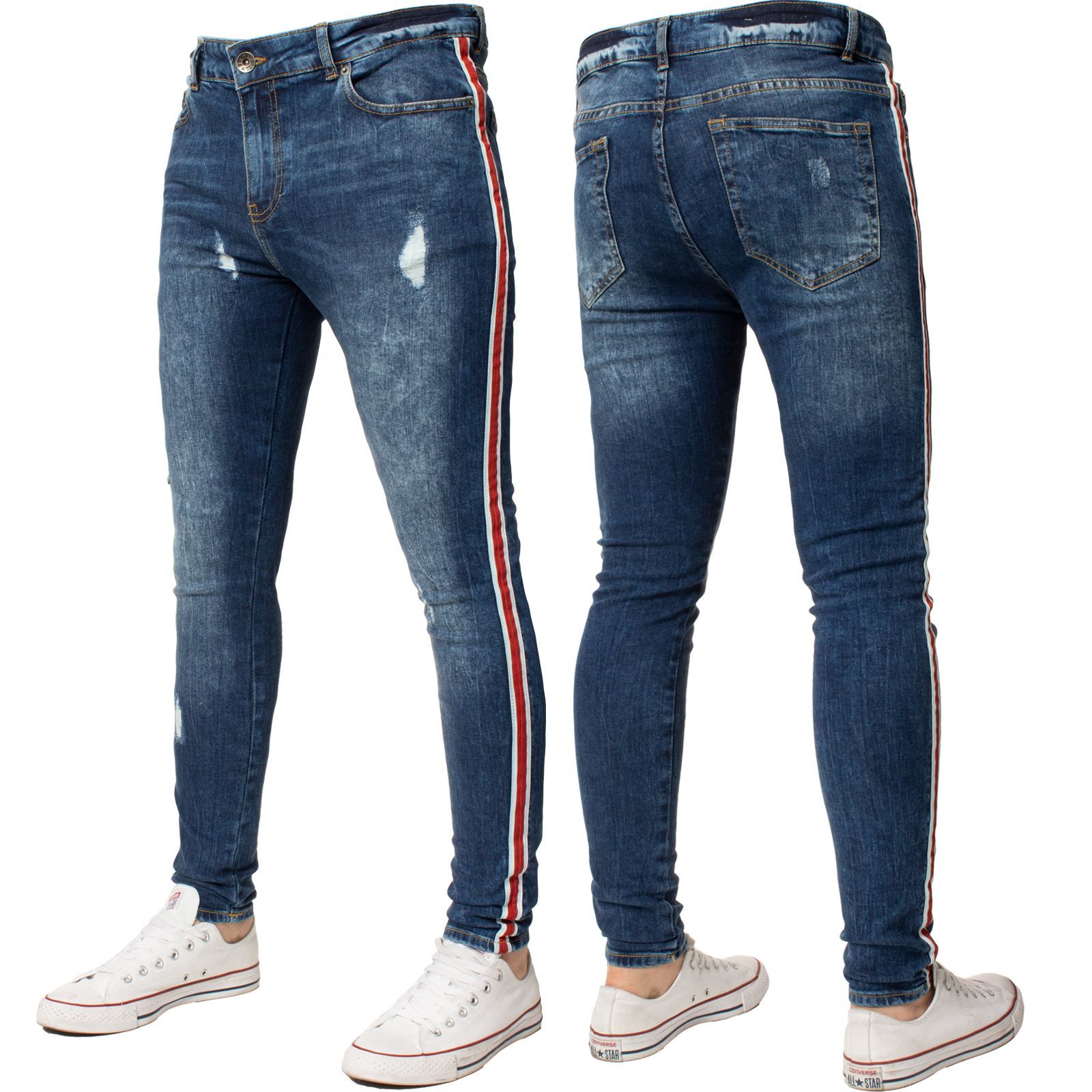 Enzo-Mens-Super-Skinny-Stretch-Blue-Jeans-Ripped-Striped-Designer-Denim-Pants