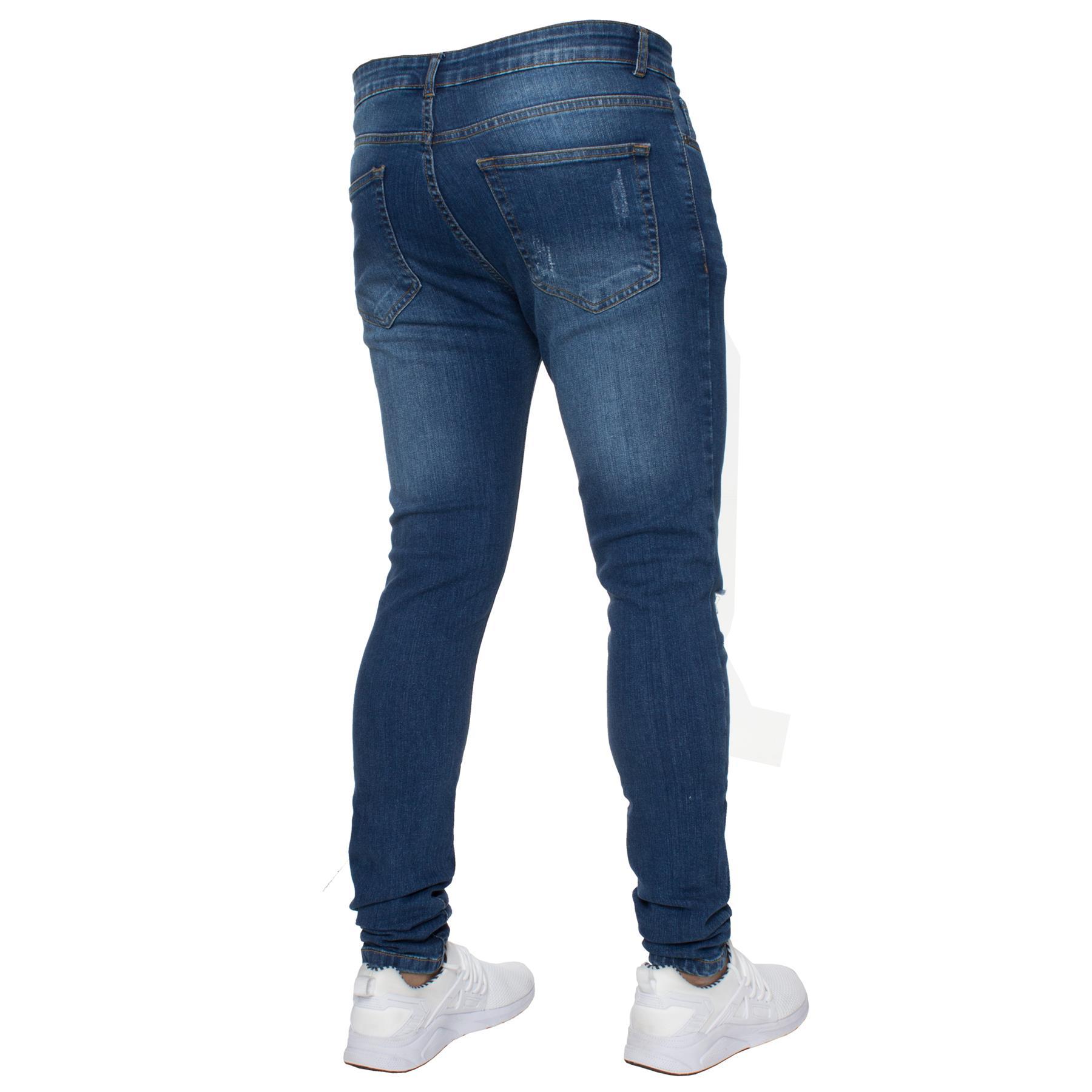 Para-hombre-Super-Skinny-Ripped-Jeans-Pantalones-Ajustados-desgastados-Denim-Envejecido-Todas miniatura 3