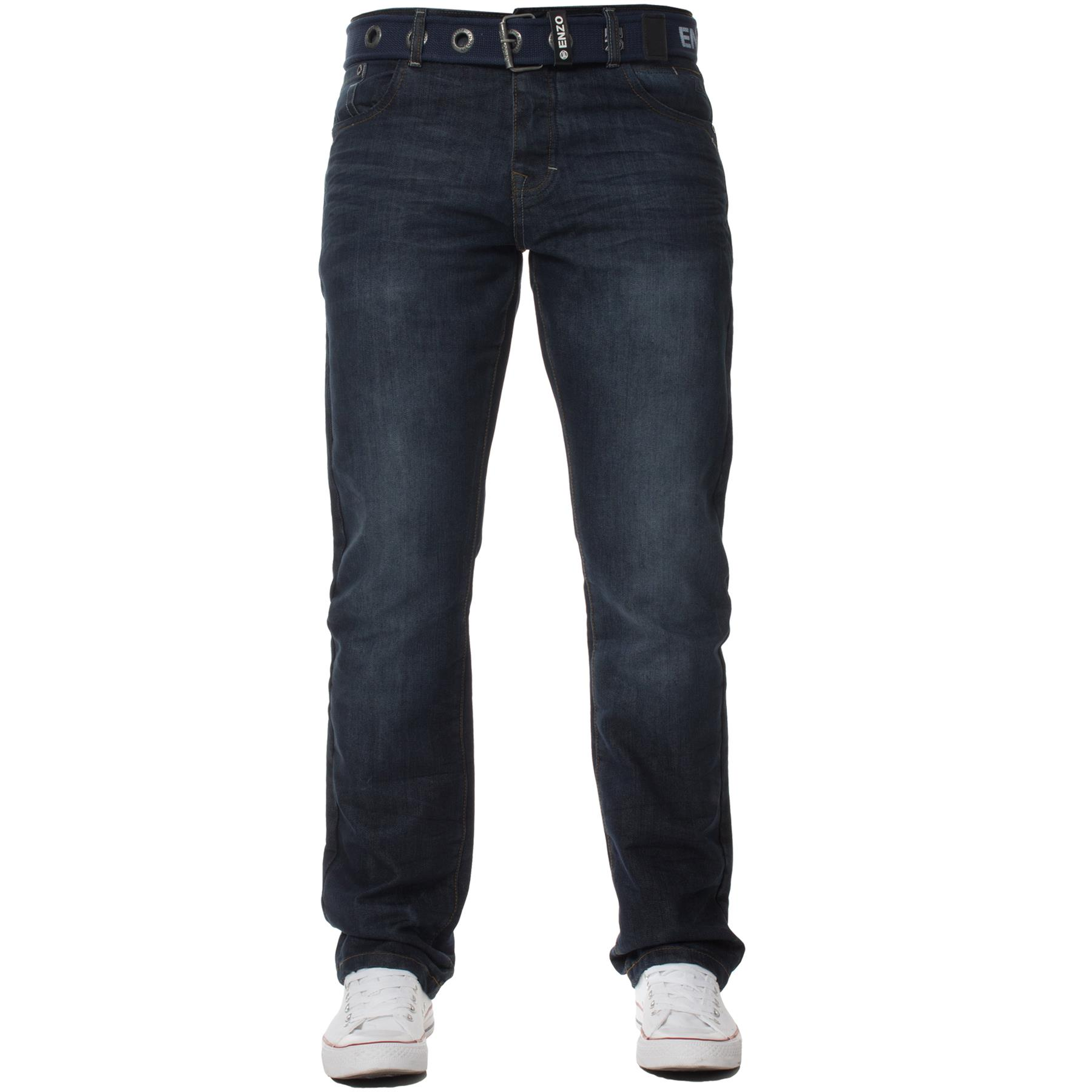 Enzo-Mens-Jeans-Big-Tall-Leg-King-Size-Denim-Pants-Chino-Trousers-Waist-44-034-60-034 miniature 75