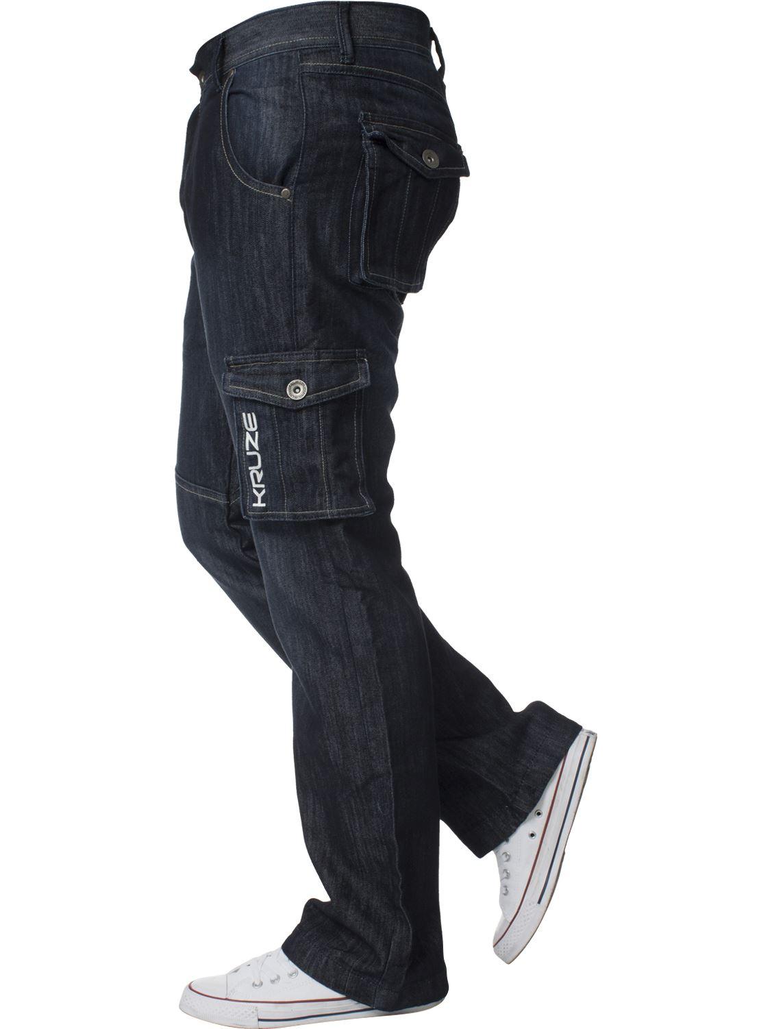 Grandes-jeans-para-hombre-de-combate-de-Kruze-Rey-Alto-Pierna-Cargo-Pantalones-Jeans-Pantalones miniatura 13