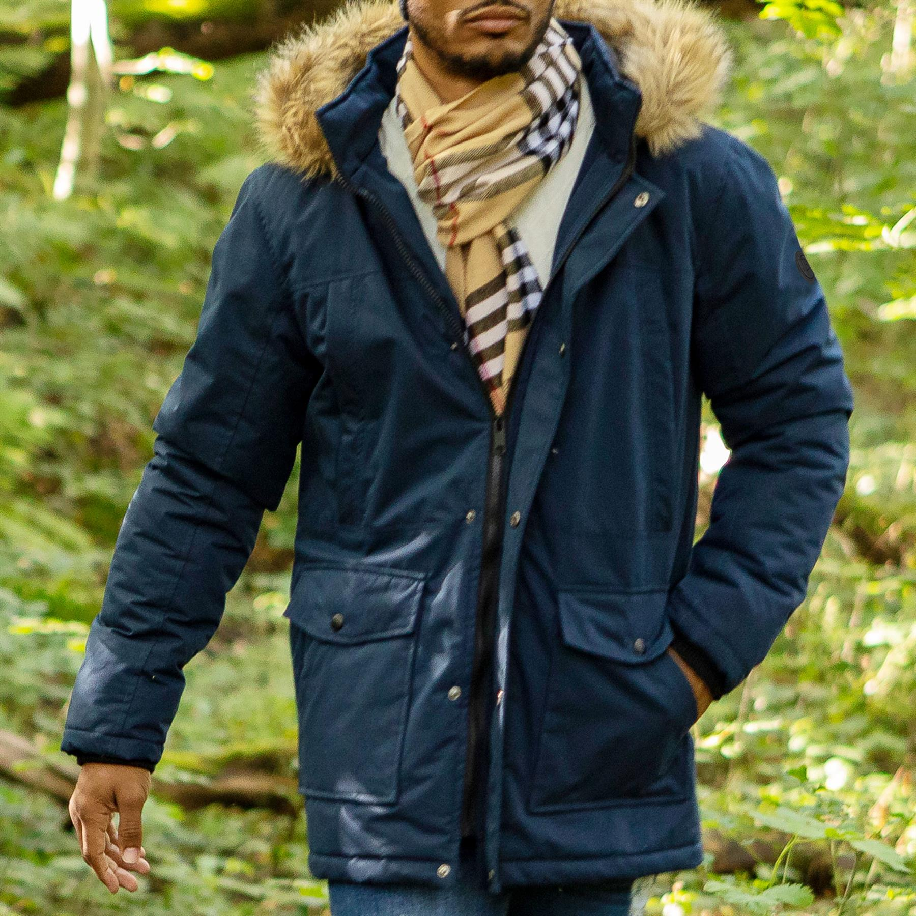 Mens-Parka-Jacket-Faux-Fur-Trimmed-Hooded-Winter-Warm-Long-Padded-Outerwear-Coat thumbnail 8