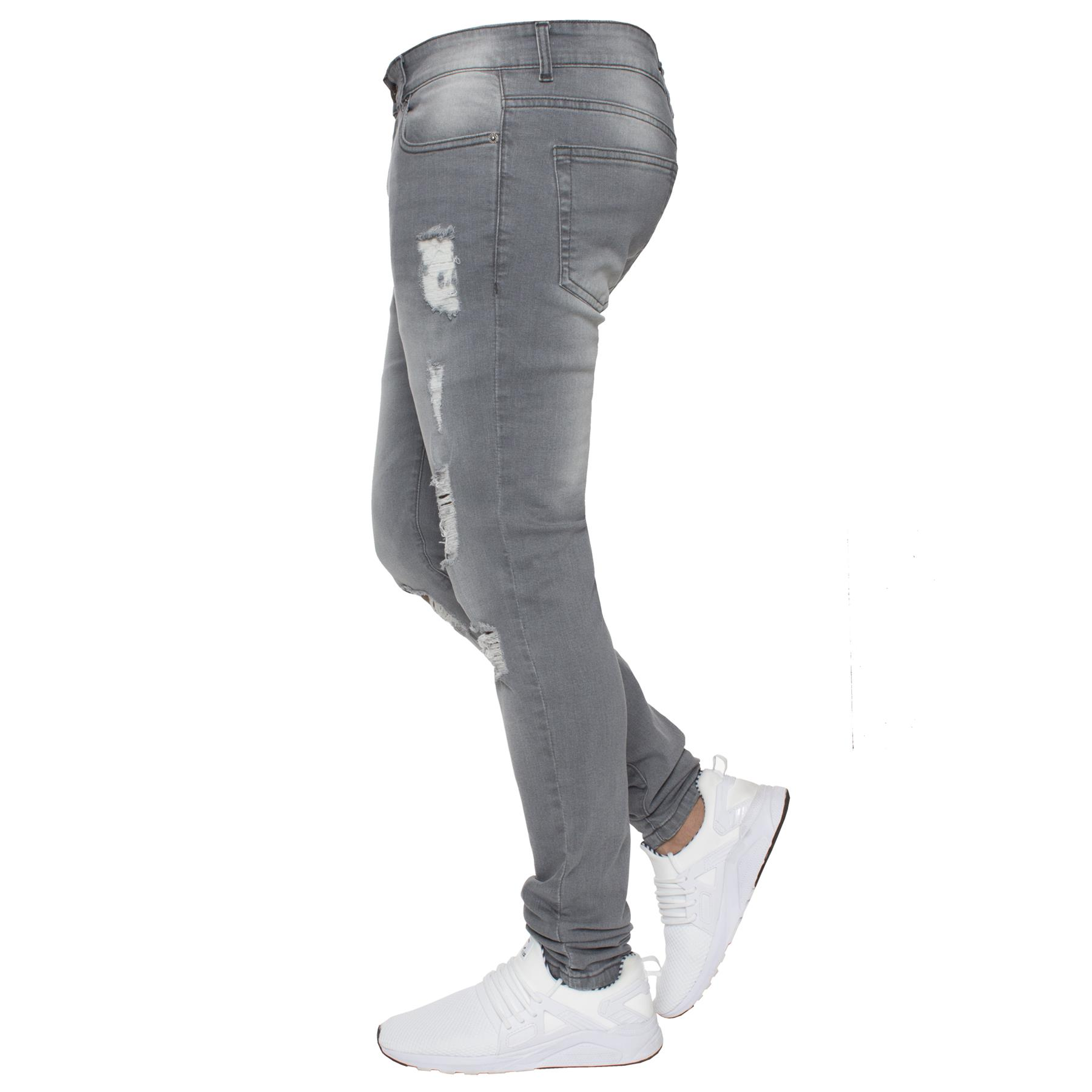 Para-hombre-Super-Skinny-Ripped-Jeans-Pantalones-Ajustados-desgastados-Denim-Envejecido-Todas miniatura 20