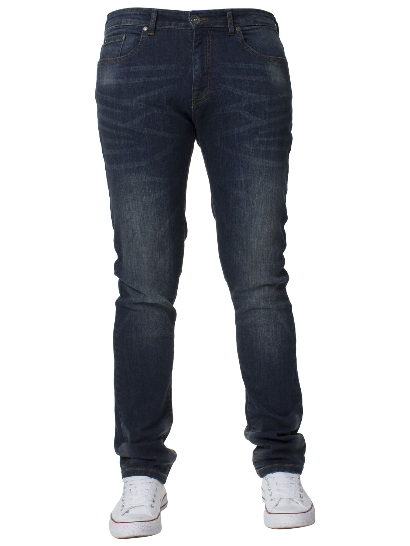 Mens-Skinny-Stretch-Jeans-Slim-Fit-Flex-Denim-Trousers-Pants-King-Sizes-by-Kruze thumbnail 16