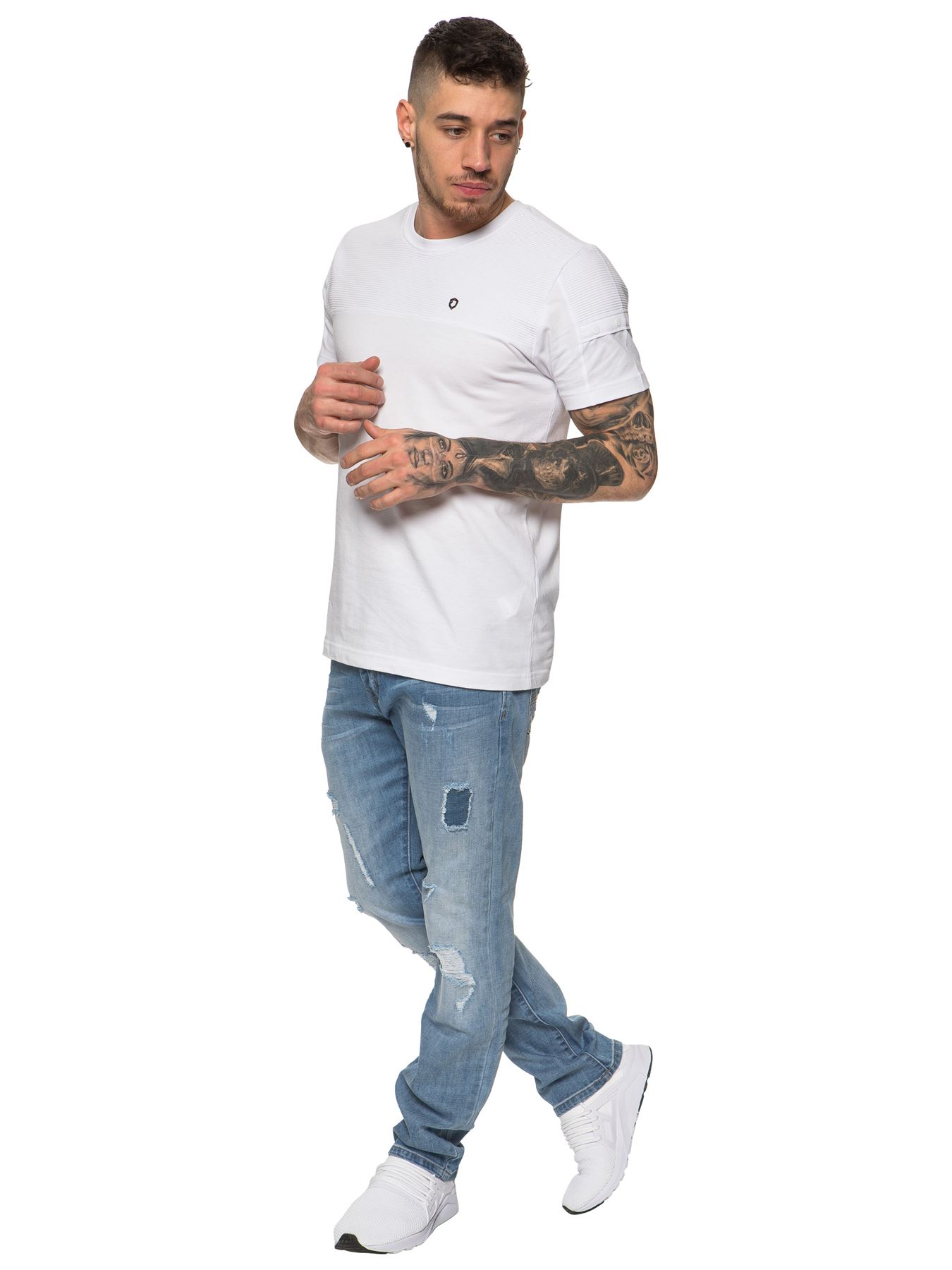 ETO-Designer-Mens-Ripped-Blue-Jeans-Distressed-Denim-Tapered-Fit-Trousers-Pants thumbnail 10